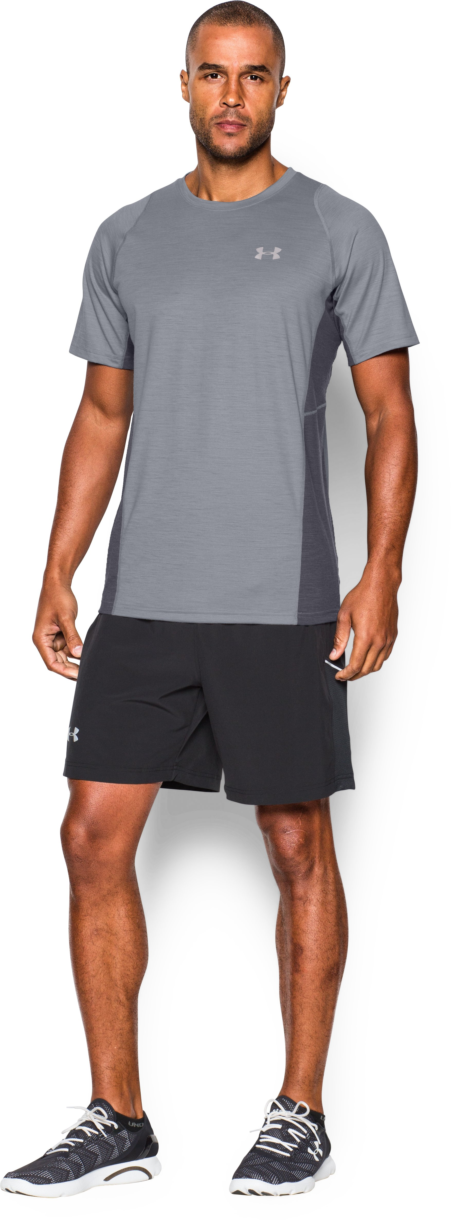 Men's UA Charged Wool Run Short Sleeve, Steel, Front