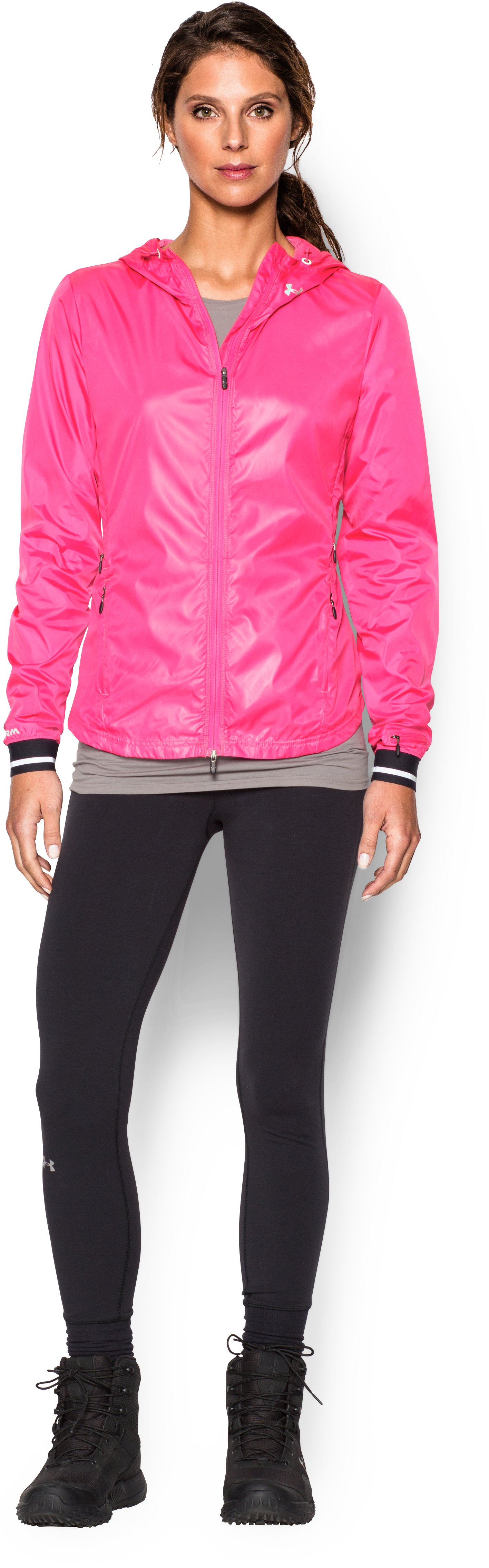 Women's UA Storm Layered Up Jacket, REBEL PINK, Front