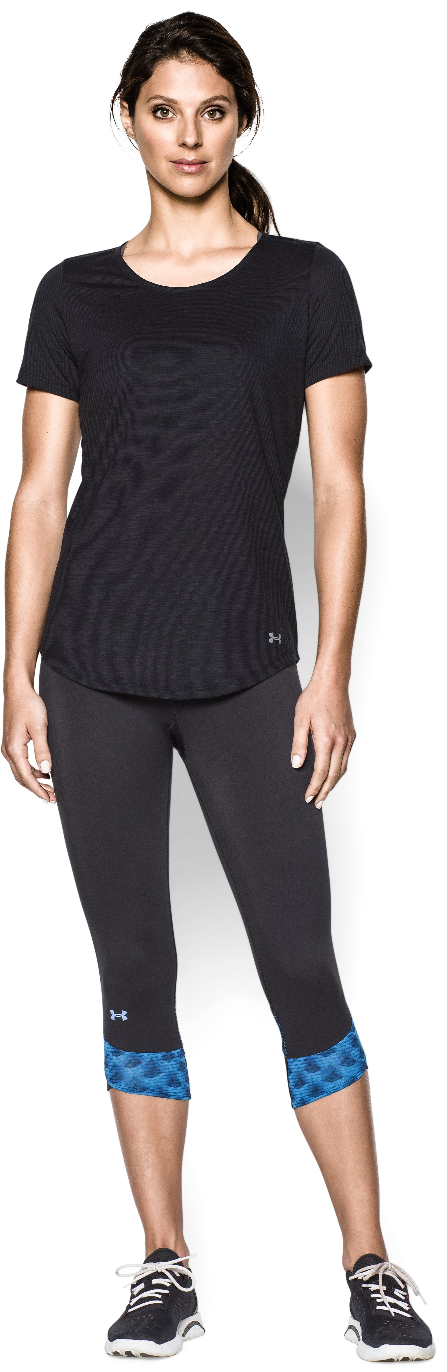 Women's UA Charged Wool Short Sleeve, Black , Front