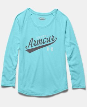 Girls' UA Impulse Charged Cotton® Tri-Blend Script Long Sleeve
