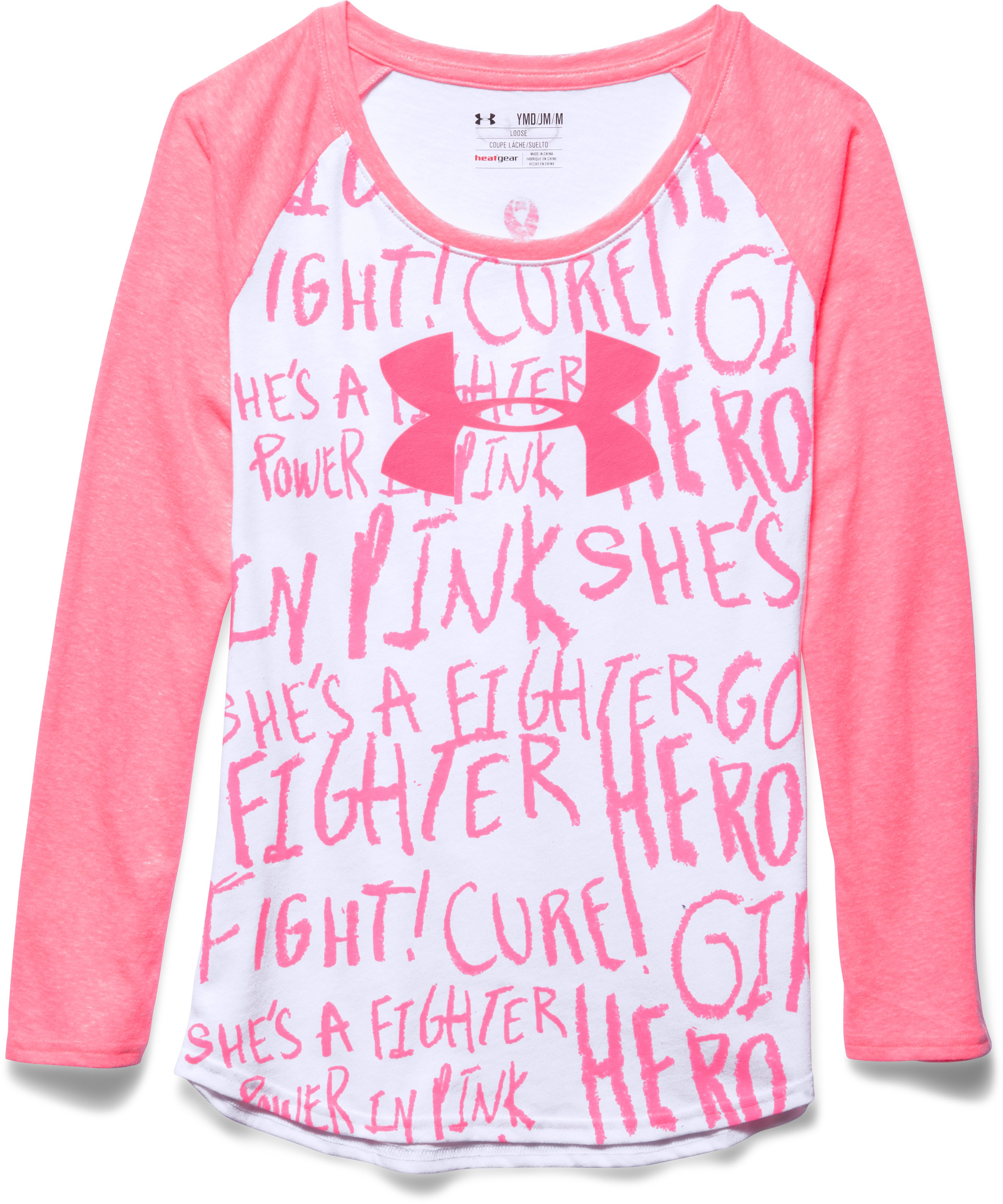 Girls' UA Power In Pink® Long Sleeve Raglan, White, Laydown