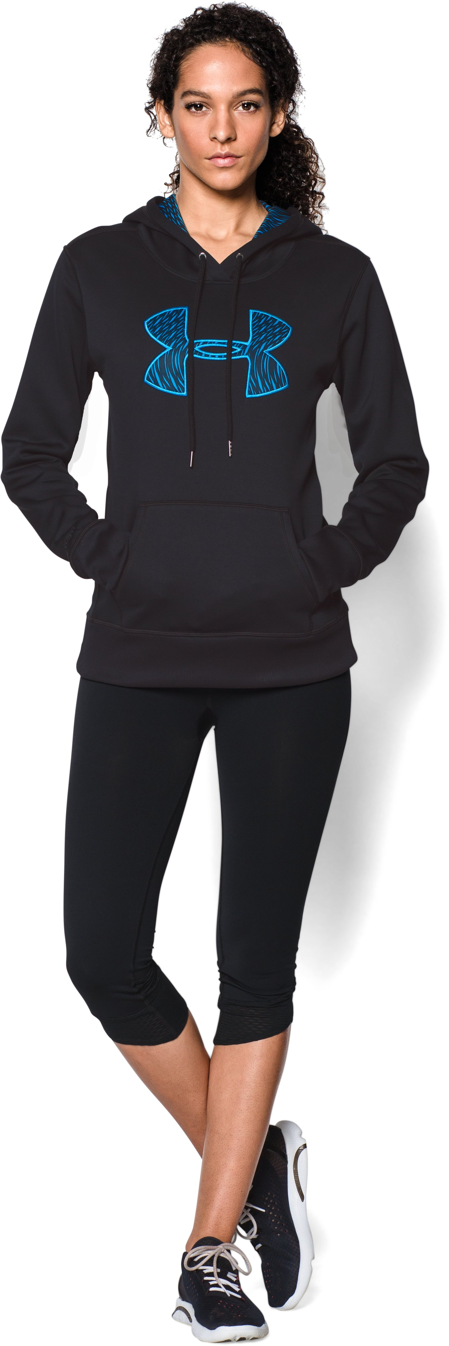 Women's  UA Storm Armour Fleece® Printed Big Logo Hoodie, Black , Front