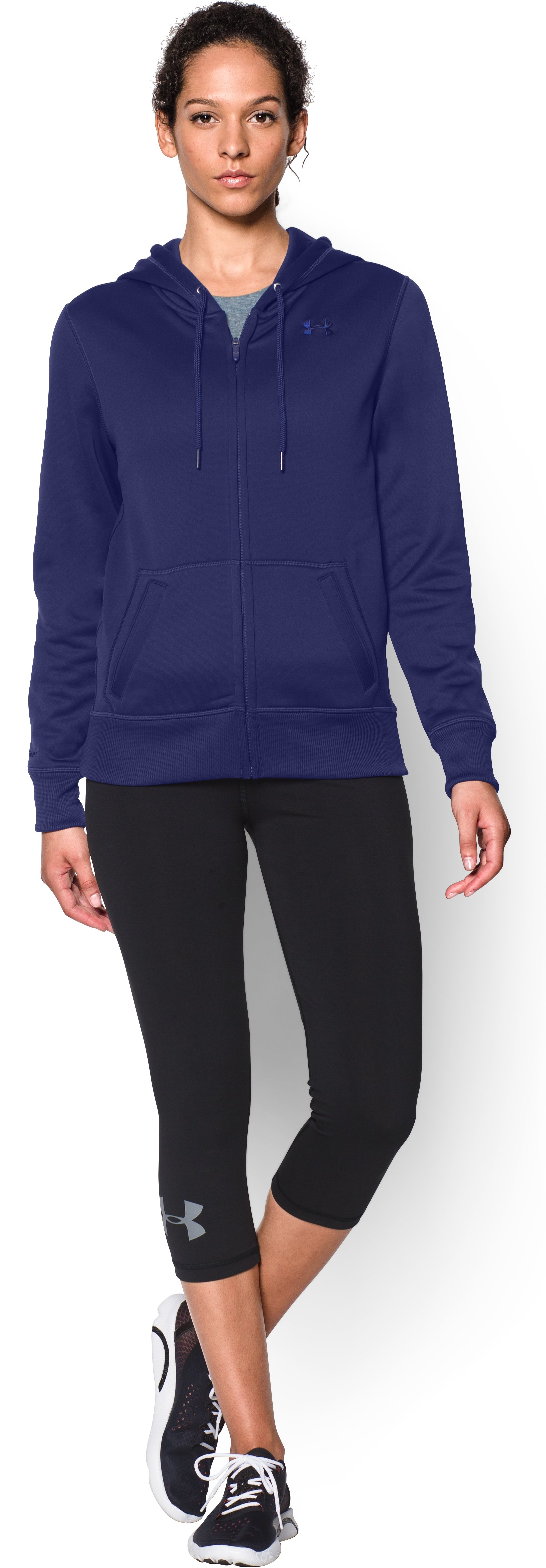 Women's UA Storm Armour® Fleece Big Logo Full Zip Hoodie, EUROPA PURPLE, Front