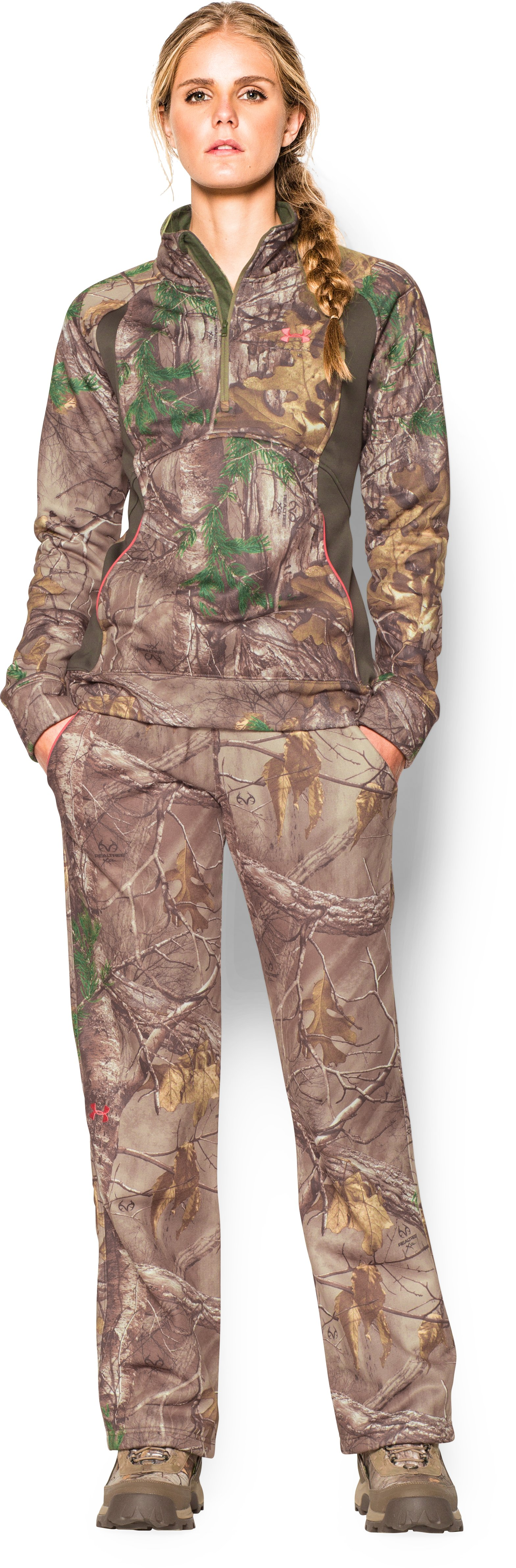 Women's  UA Camo Armour Fleece® Pants, REALTREE AP-XTRA, Front