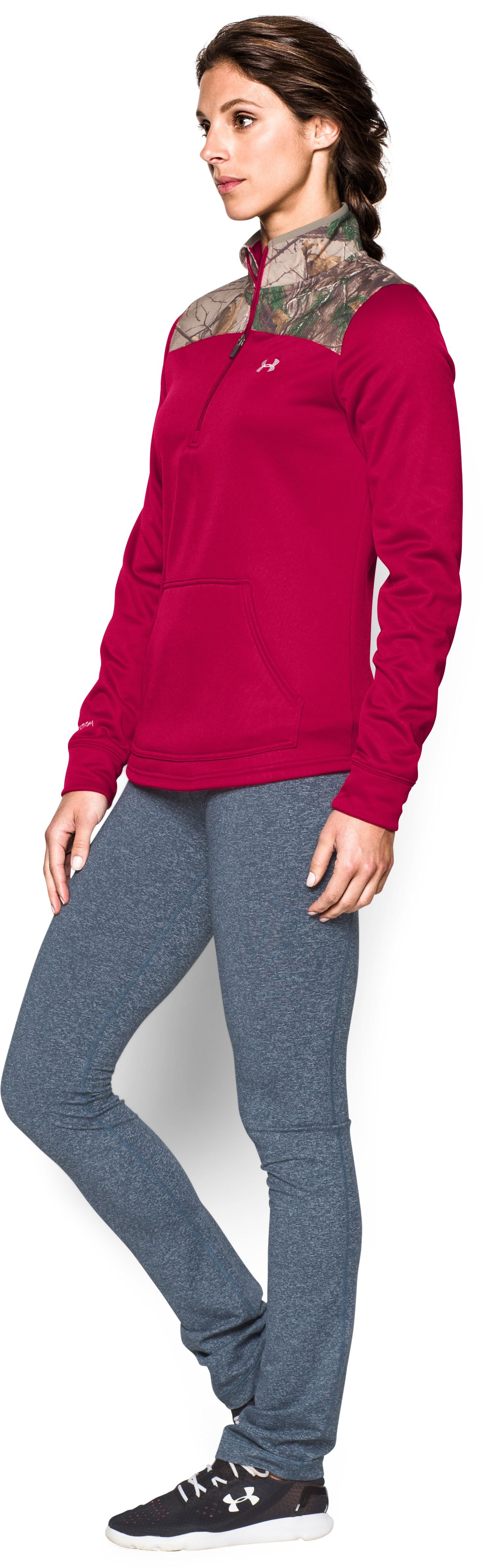 Women's  UA Caliber 1/2 Zip, Fury, undefined