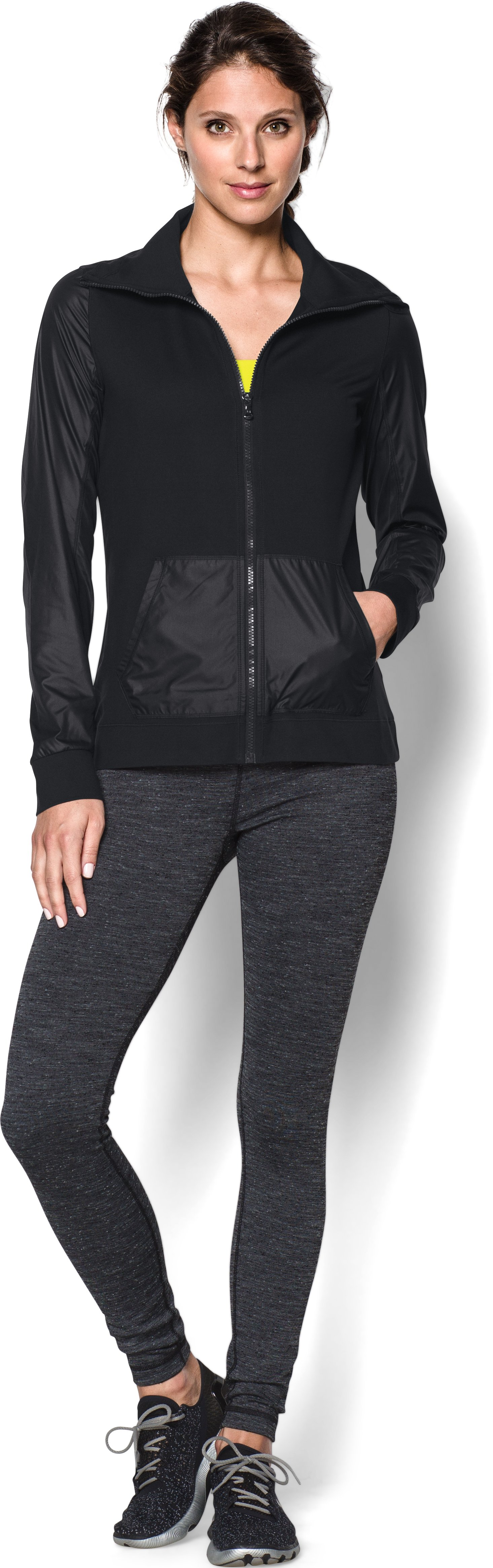 Women's UA Studio Essential Jacket, Black , Front