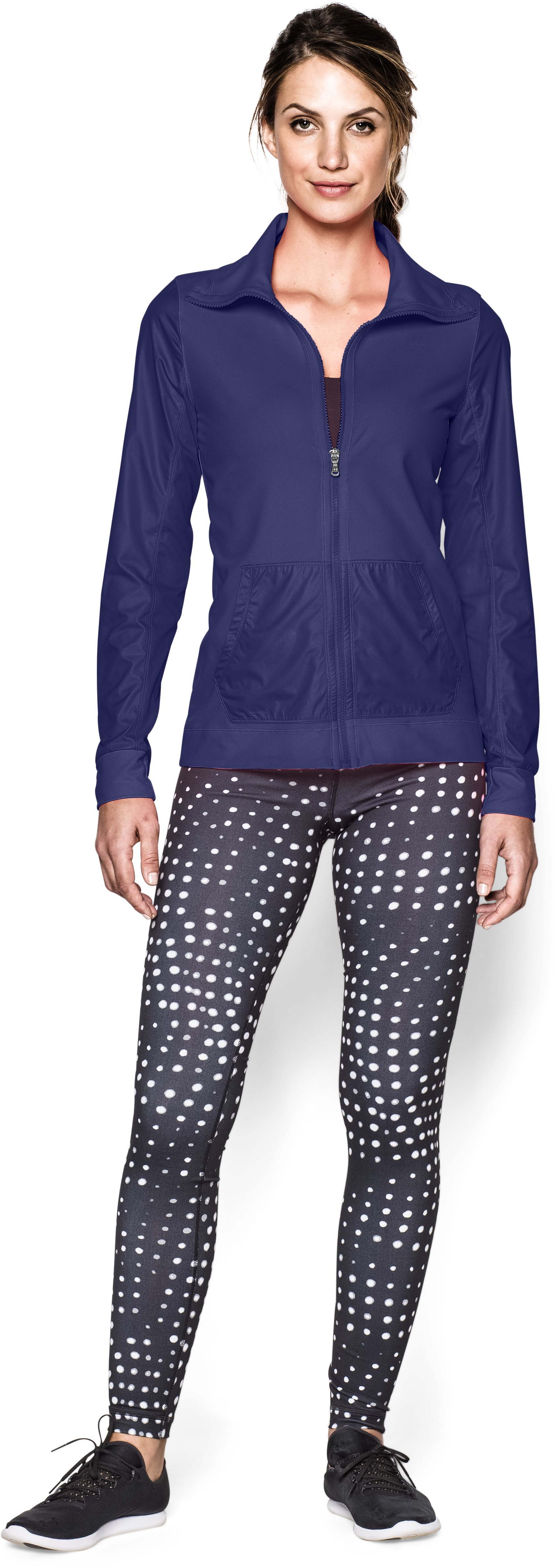 Women's UA Studio Essential Jacket, EUROPA PURPLE, zoomed image