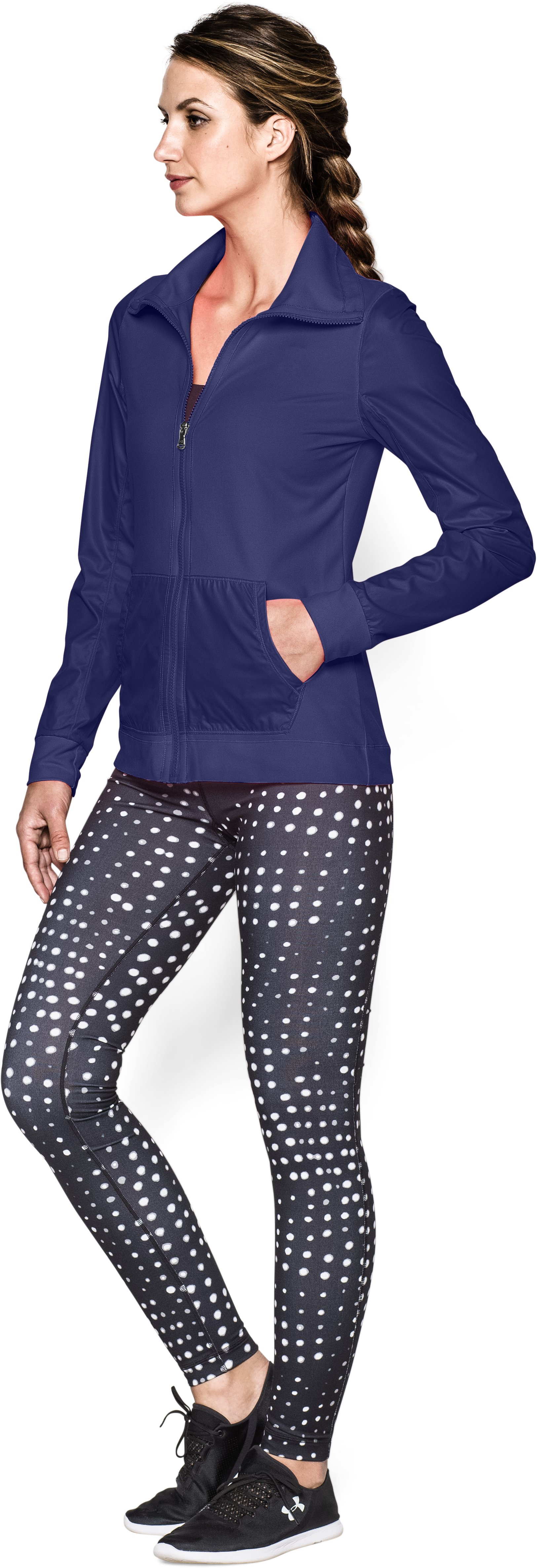Women's UA Studio Essential Jacket, EUROPA PURPLE