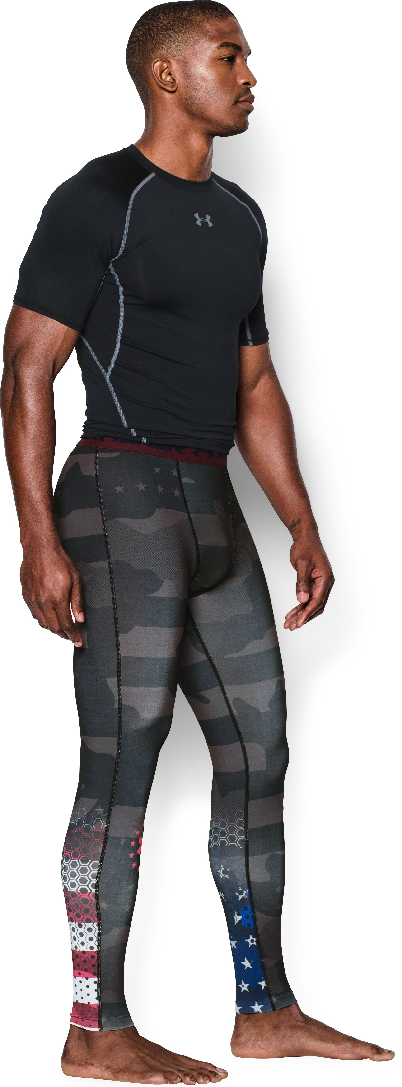Men's UA Freedom USA Compression Leggings, Black