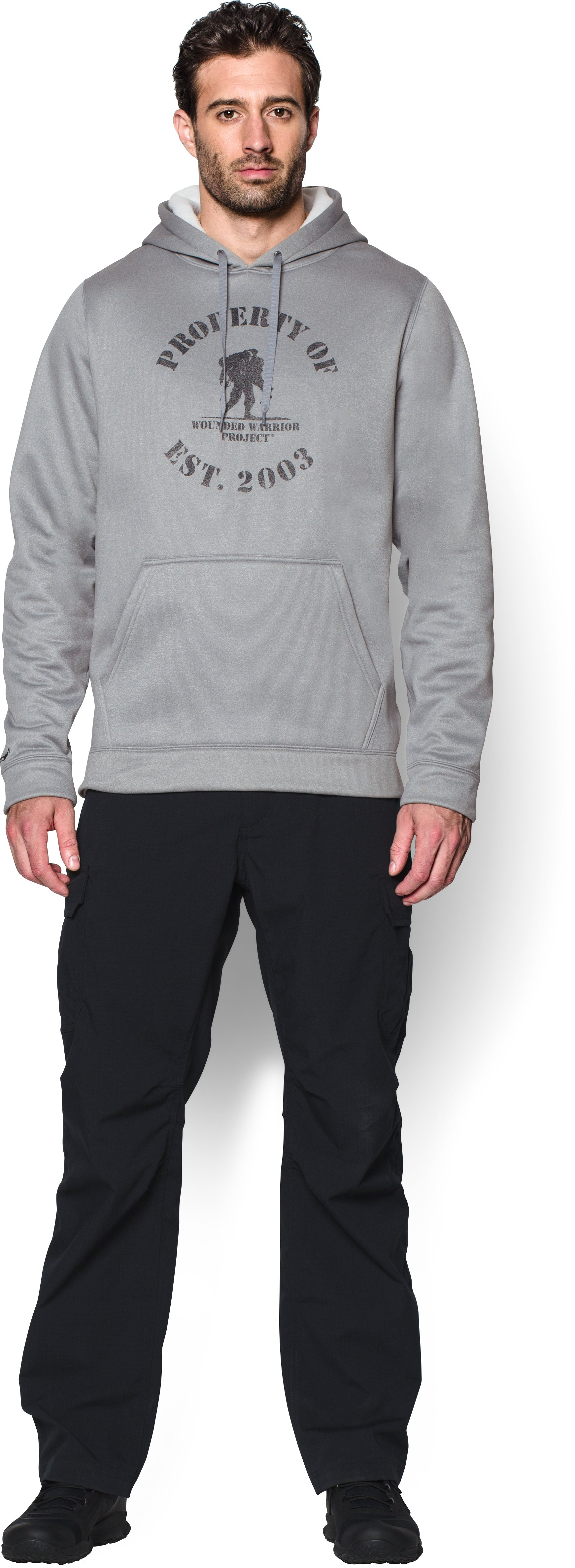 Men's UA Storm WWP Property Of Hoodie, True Gray Heather, Front