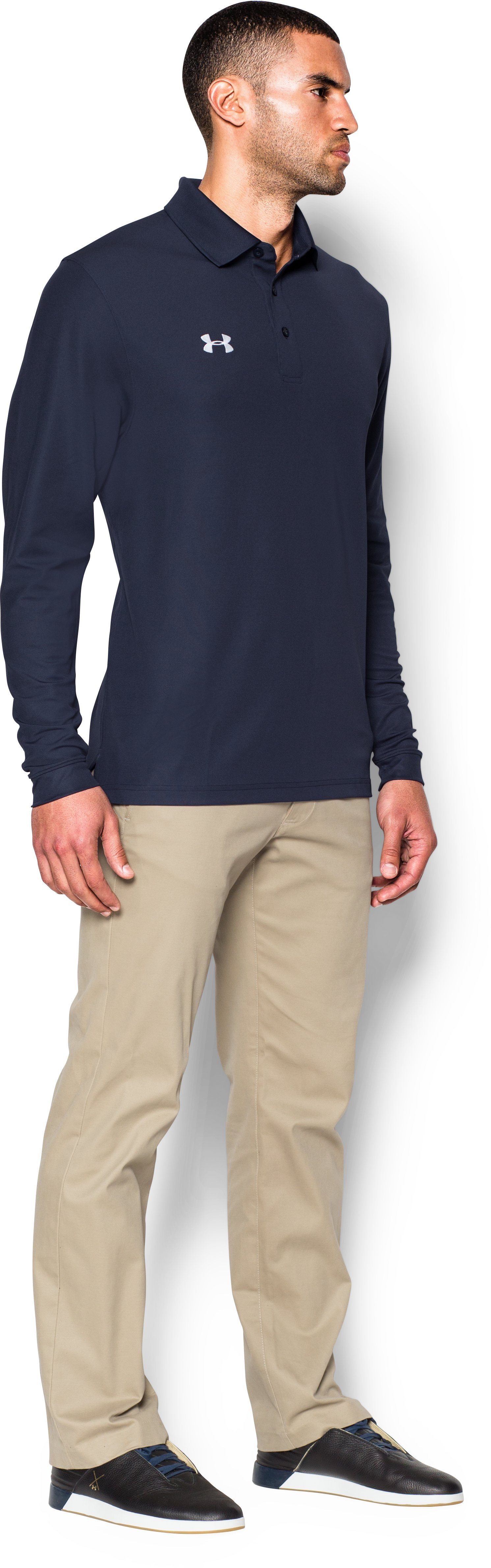 Men's UA Performance Long Sleeve Polo, Midnight Navy, undefined