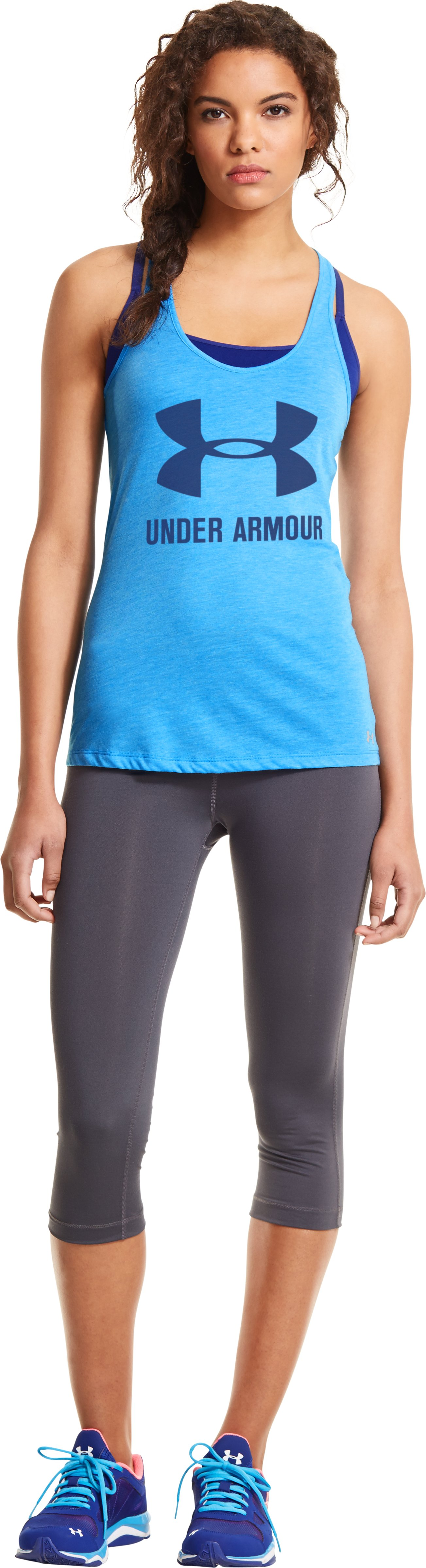 Women's Under Armour® Big Logo T-Back Tank, ELECTRIC BLUE, Front