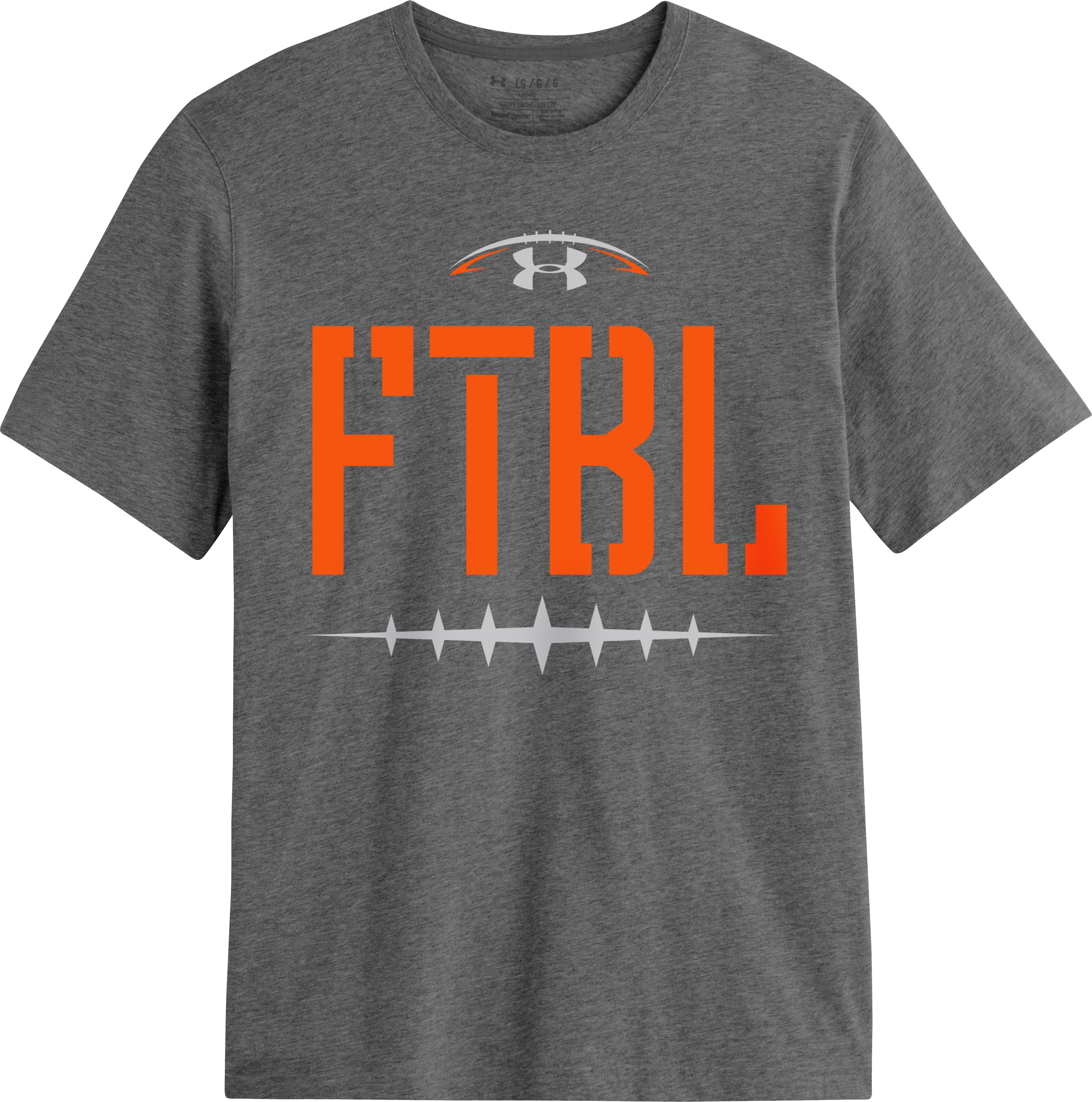 Men's UA FTBL Laces T-Shirt, Carbon Heather, Laydown