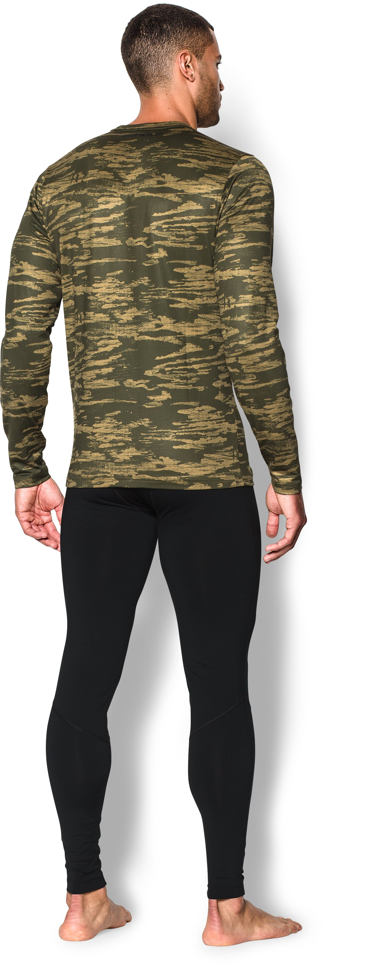 Men's UA ColdGear® Armour Printed Crew, GREENHEAD, Back