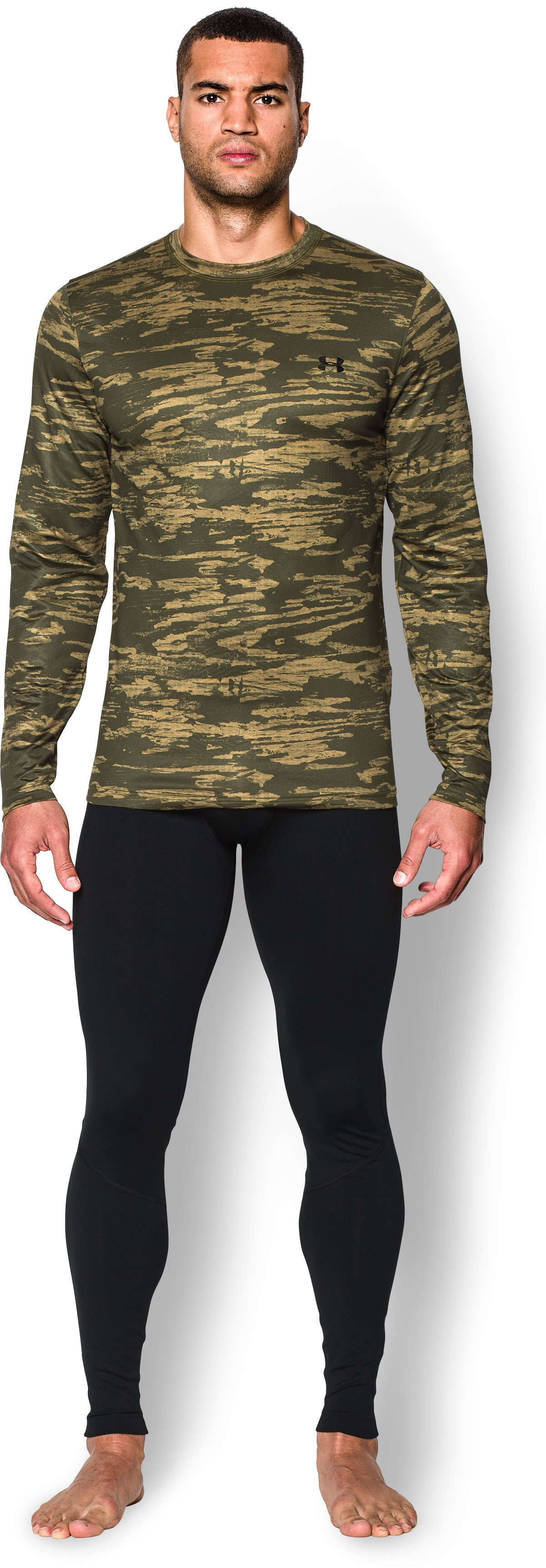Men's UA ColdGear® Armour Printed Crew, GREENHEAD, Front