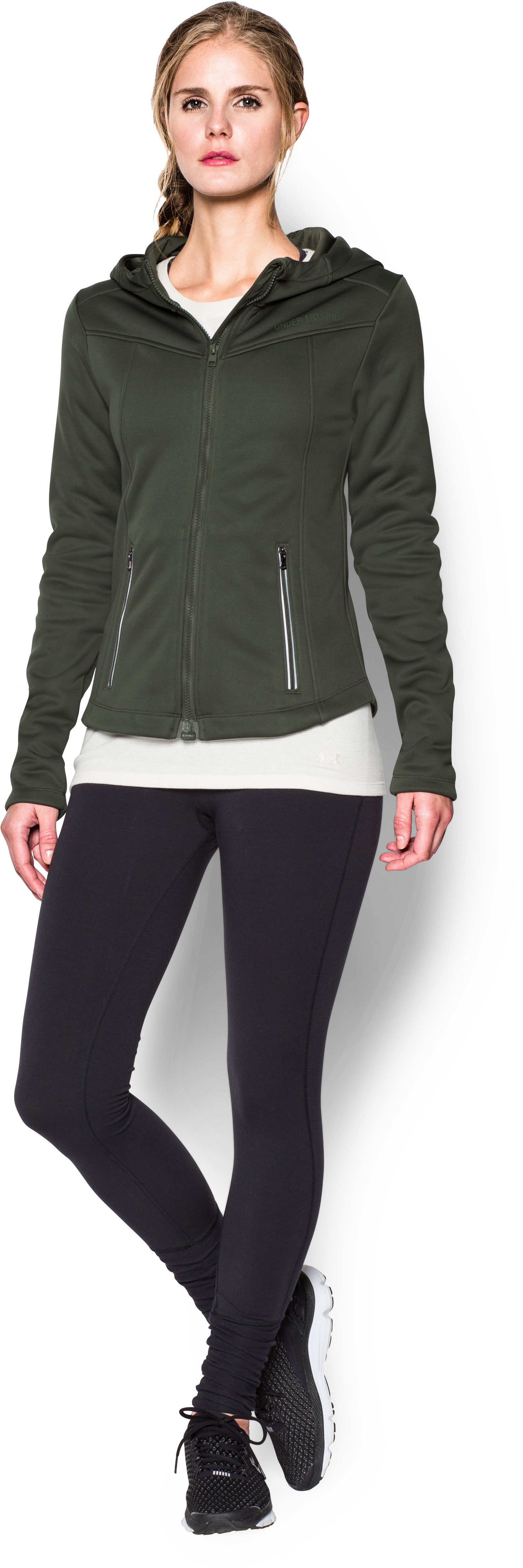 Women's UA Storm Wind Full Zip, DOWNTOWN GREEN, zoomed image