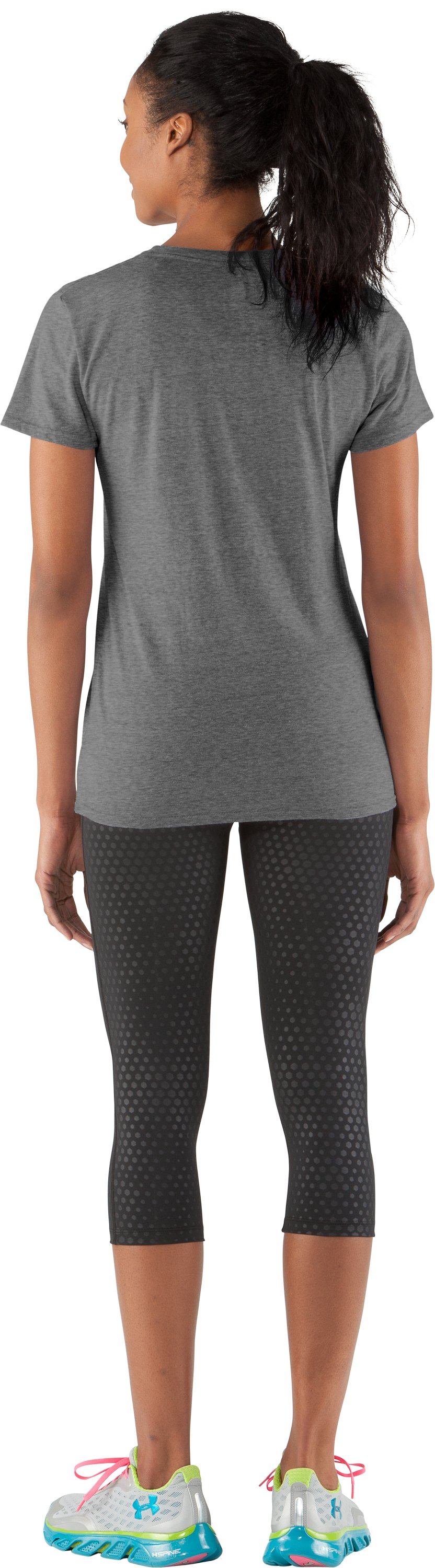 Women's UA State Of Mind Charged Cotton® Tri-Blend V-Neck, Aluminum, Back