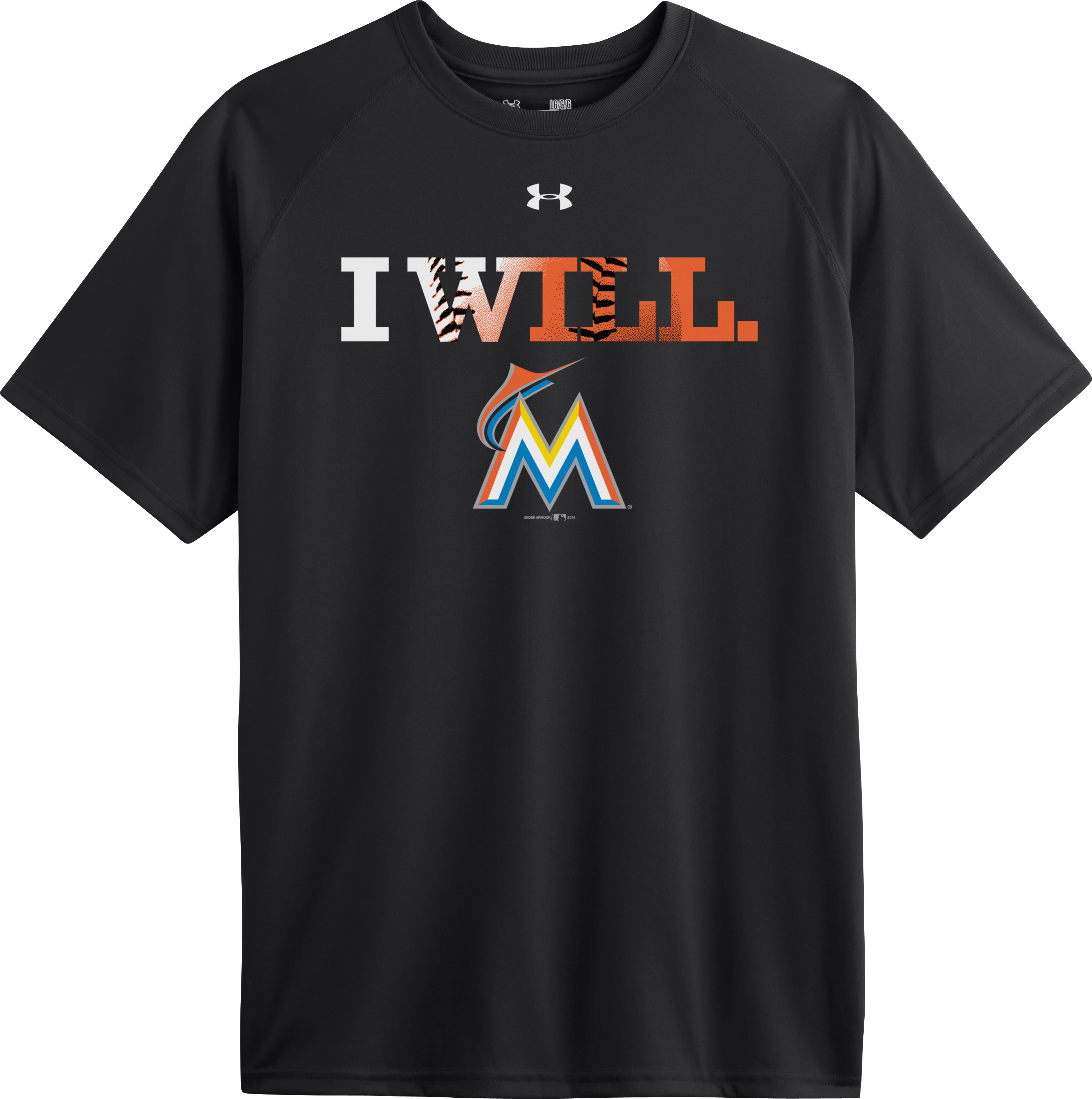 Men's Miami Marlins UA Tech™ T-Shirt, Black , Laydown