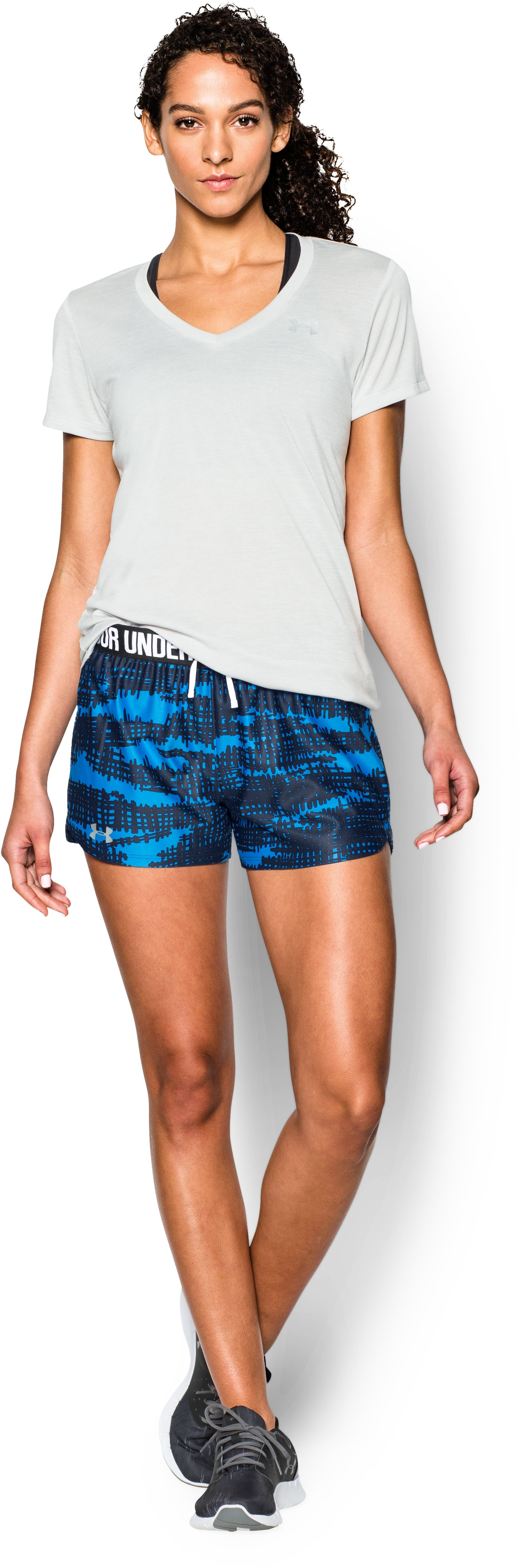 Women's UA Play Up Short - Graphic, NAVY SEAL, Front