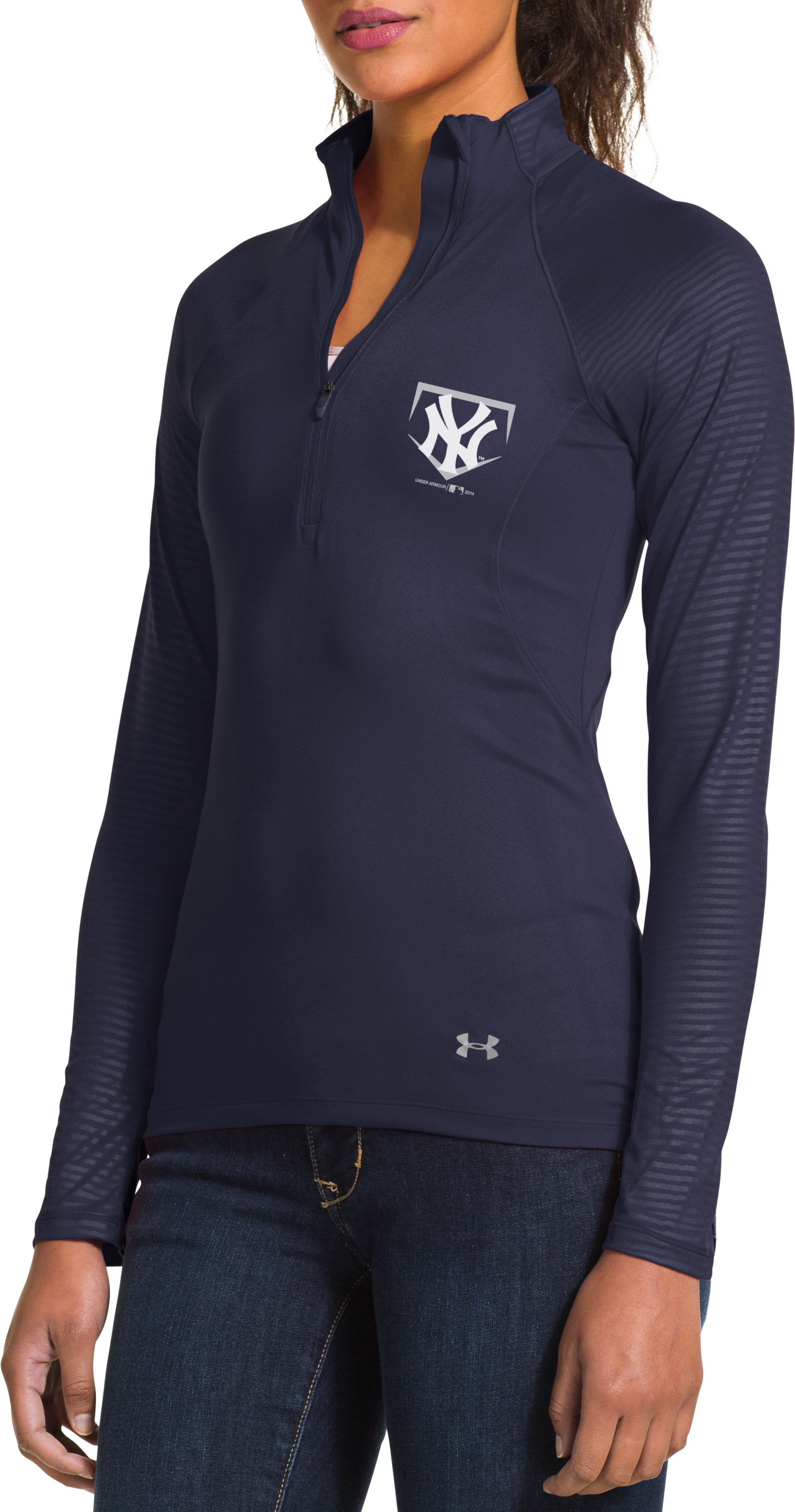 Women's New York Yankees UA Tech™ ½ Zip, Midnight Navy, Front