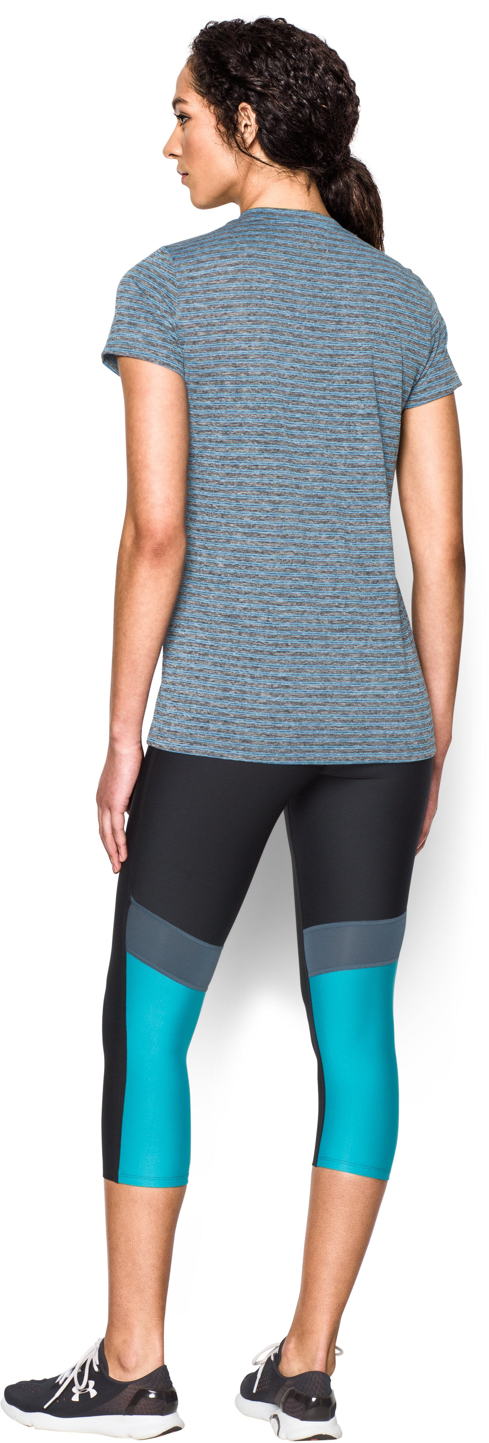 Women's UA Tech™ Heather Stripe V-Neck, Black , Back