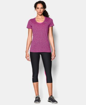 Women's UA Tech™ Heather Stripe V-Neck