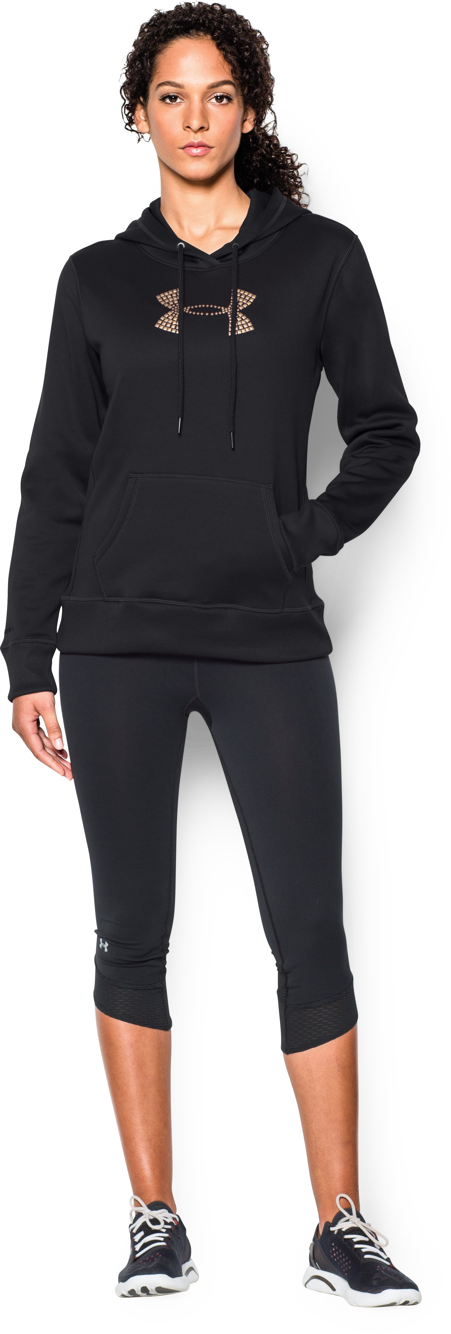 Women's  UA Storm Armour Fleece® Stud Big Logo Hoodie, Black , Front