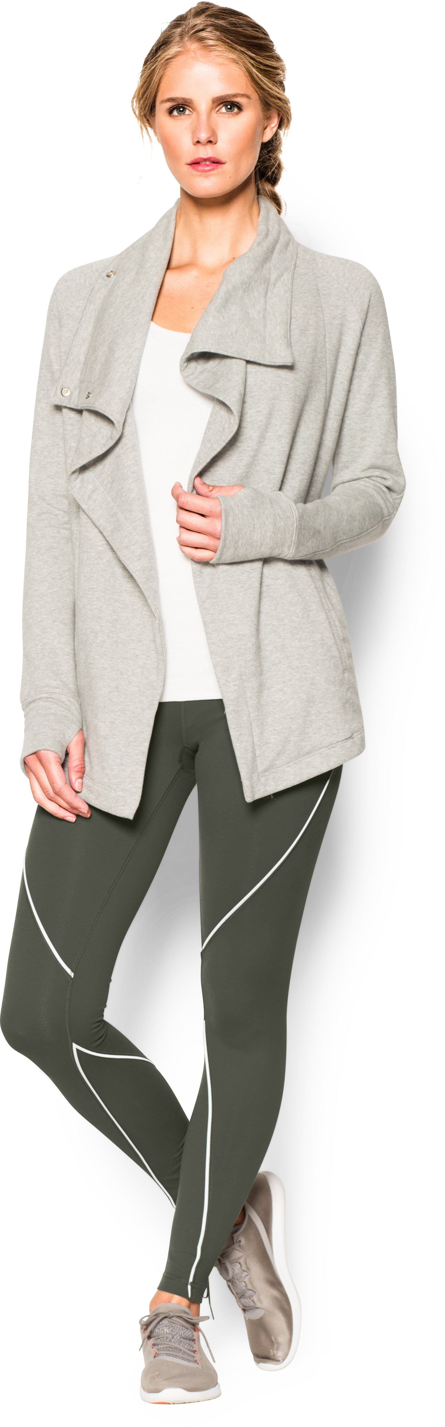 Women's UA Studio Reflect Legging, DOWNTOWN GREEN, Front
