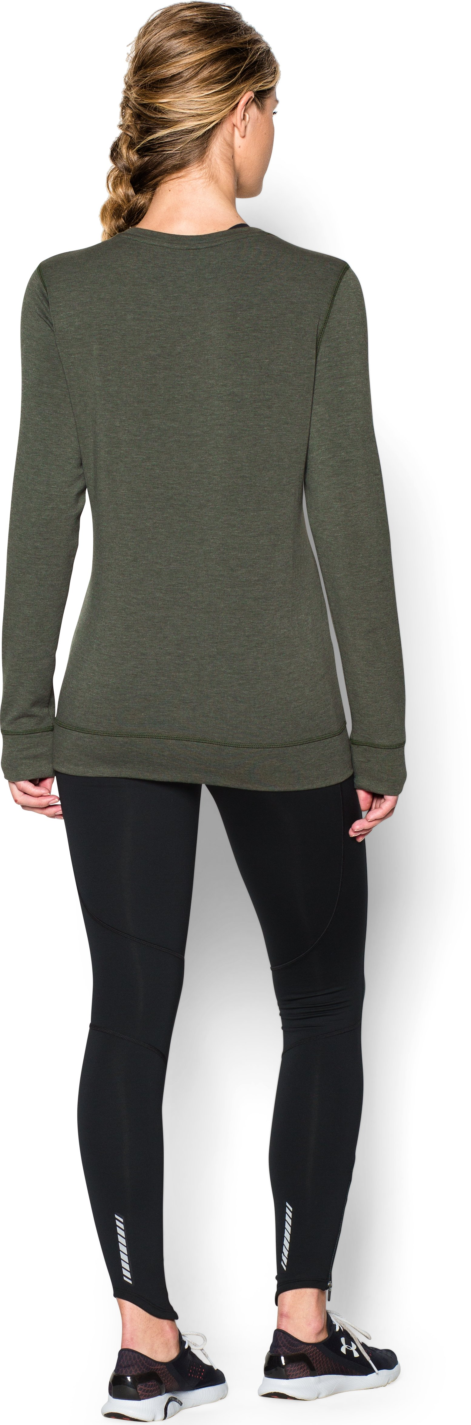Women's UA ColdGear® Infrared Cozy Crew, DOWNTOWN GREEN, Back