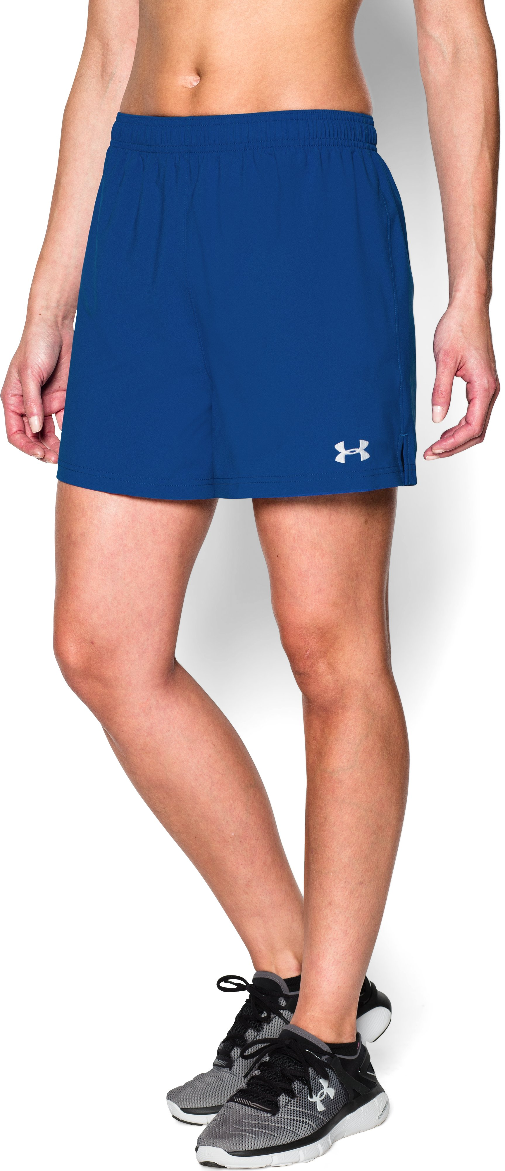 Women's UA Hustle Shorts, Royal, undefined