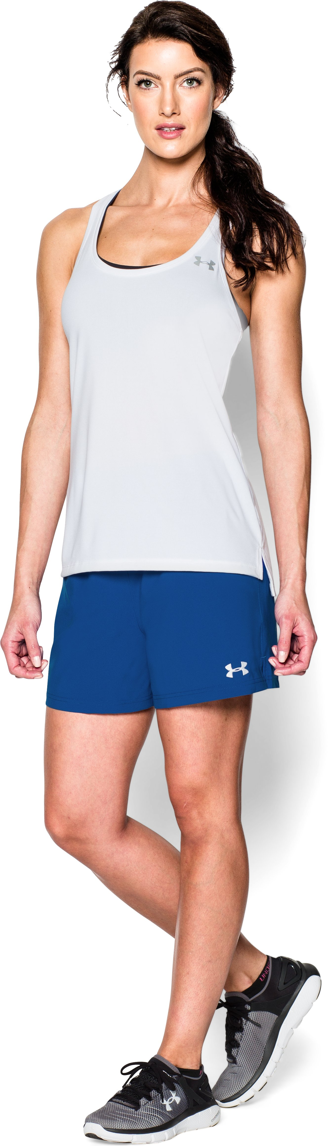 Women's UA Hustle Shorts, Royal, Front