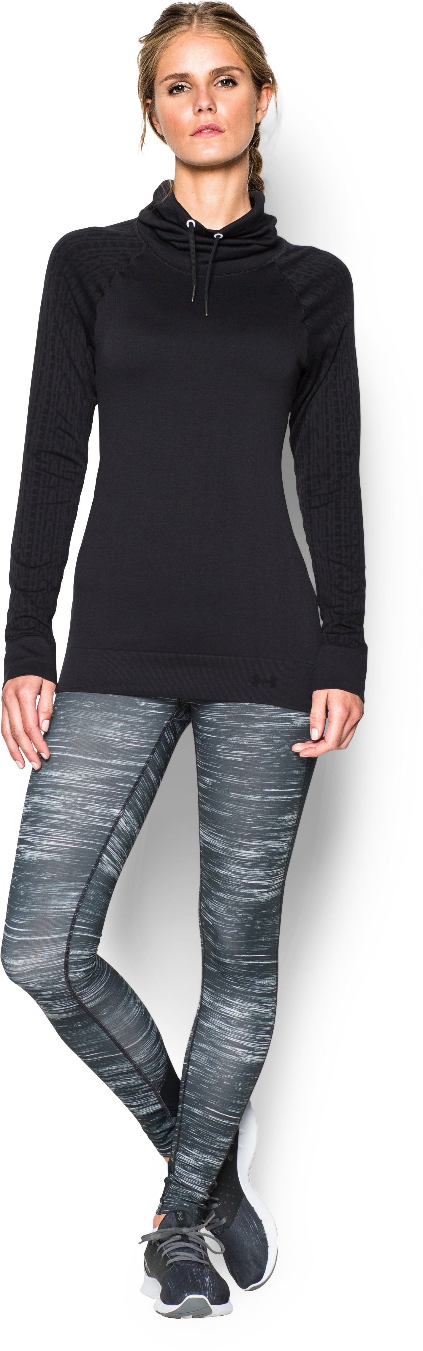 Women's UA Seamless Funnel Neck, Black , Front
