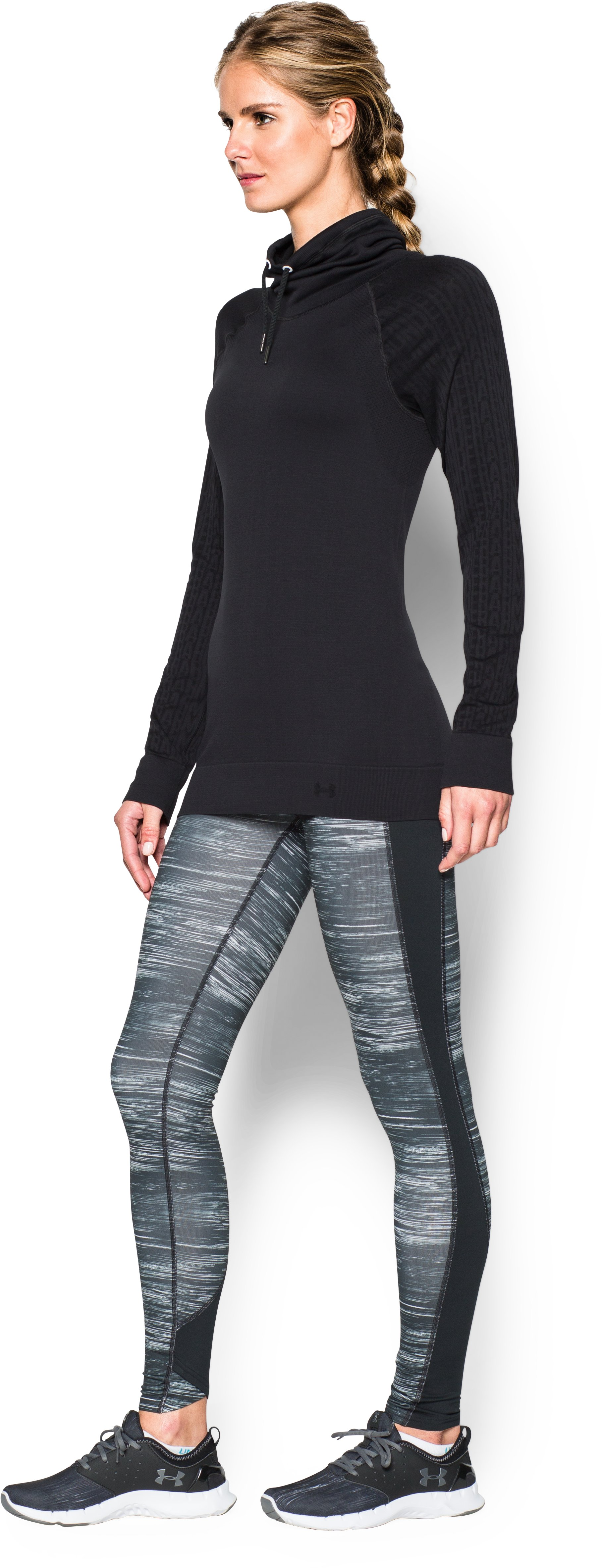 Women's UA Seamless Funnel Neck, Black , undefined