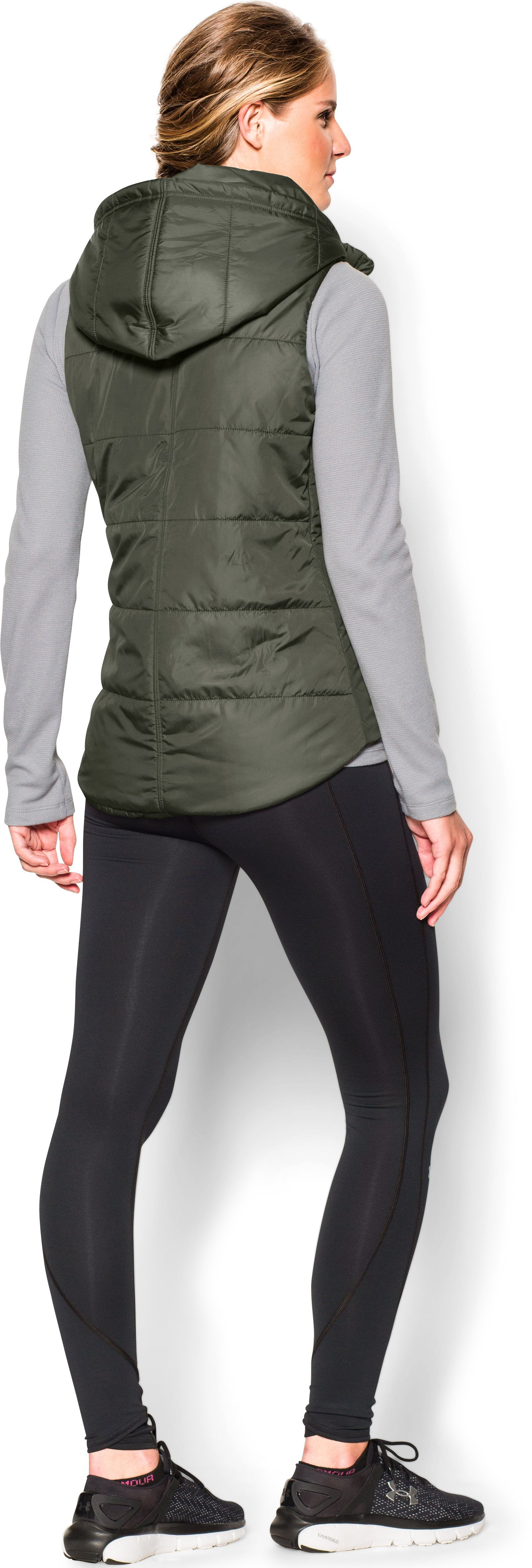 Women's UA Quilted Puffer Vest, DOWNTOWN GREEN, Back