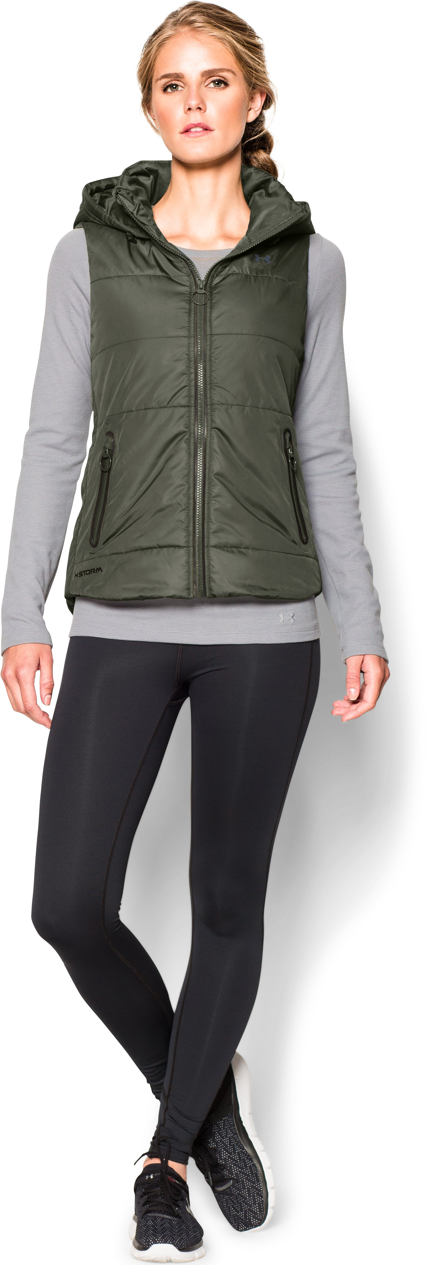 Women's UA Quilted Puffer Vest, DOWNTOWN GREEN, Front