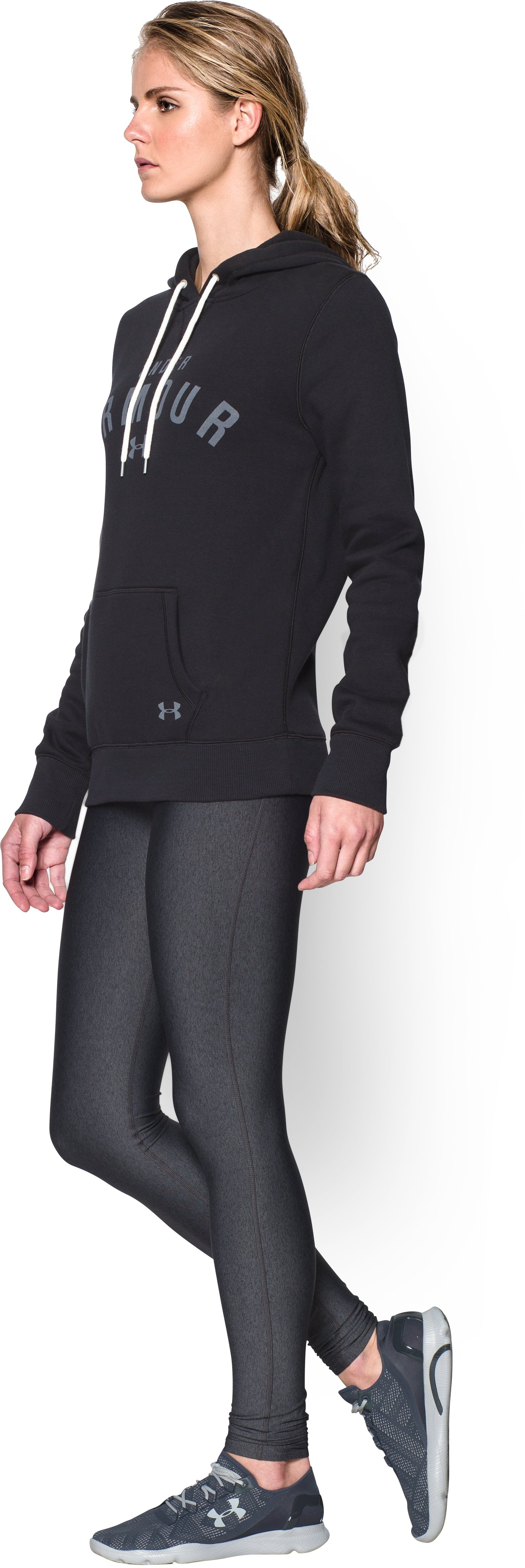 Women's UA Storm Rival Cotton Pullover Hoodie, Black , undefined
