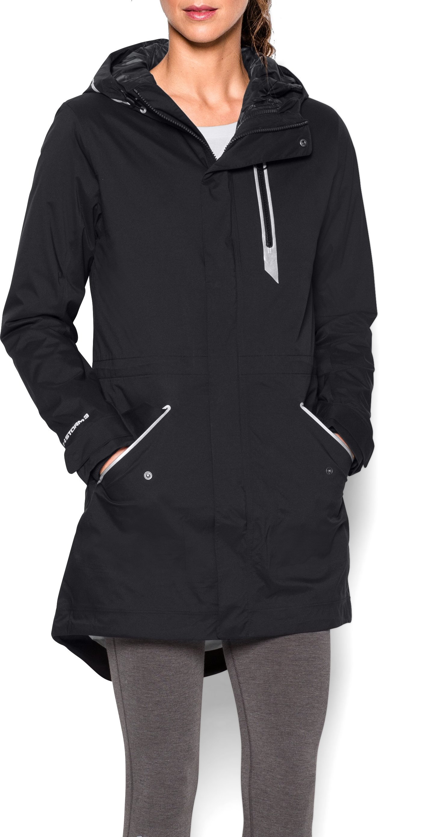 Women's UA To/From Waterproof Parka, Black , Front