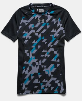 Boys' UA HeatGear® Armour Up Printed Short Sleeve Fitted Shirt