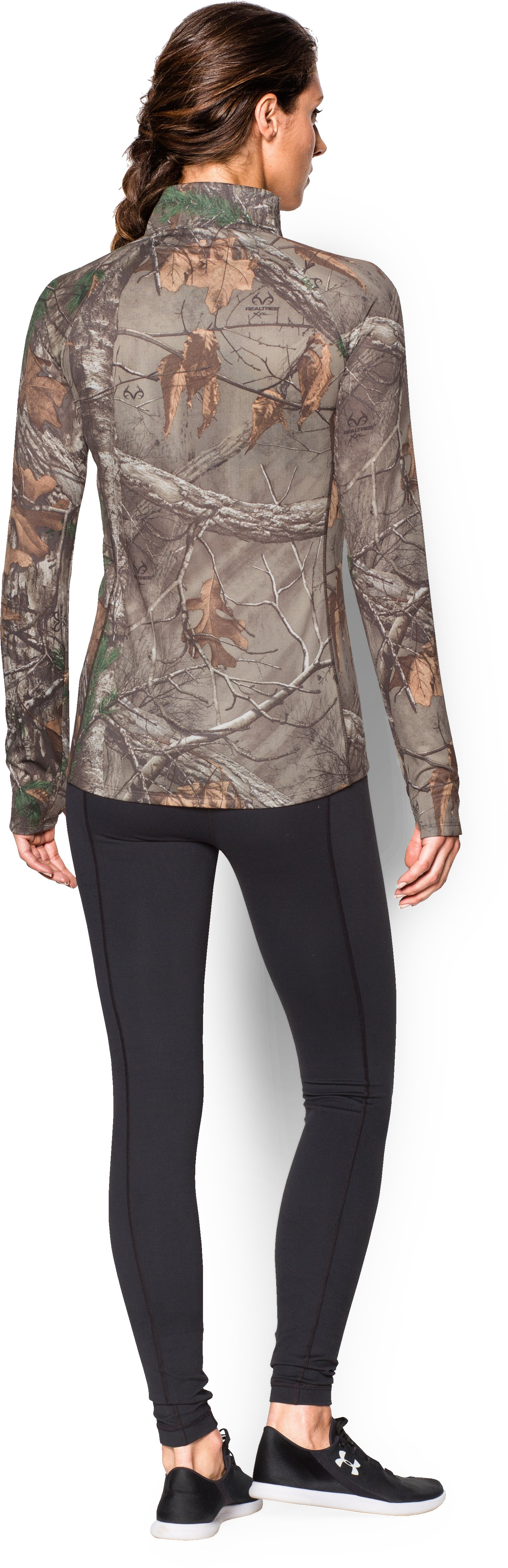 Women's UA Tech Camo 1/2 Zip , REALTREE AP-XTRA, Back