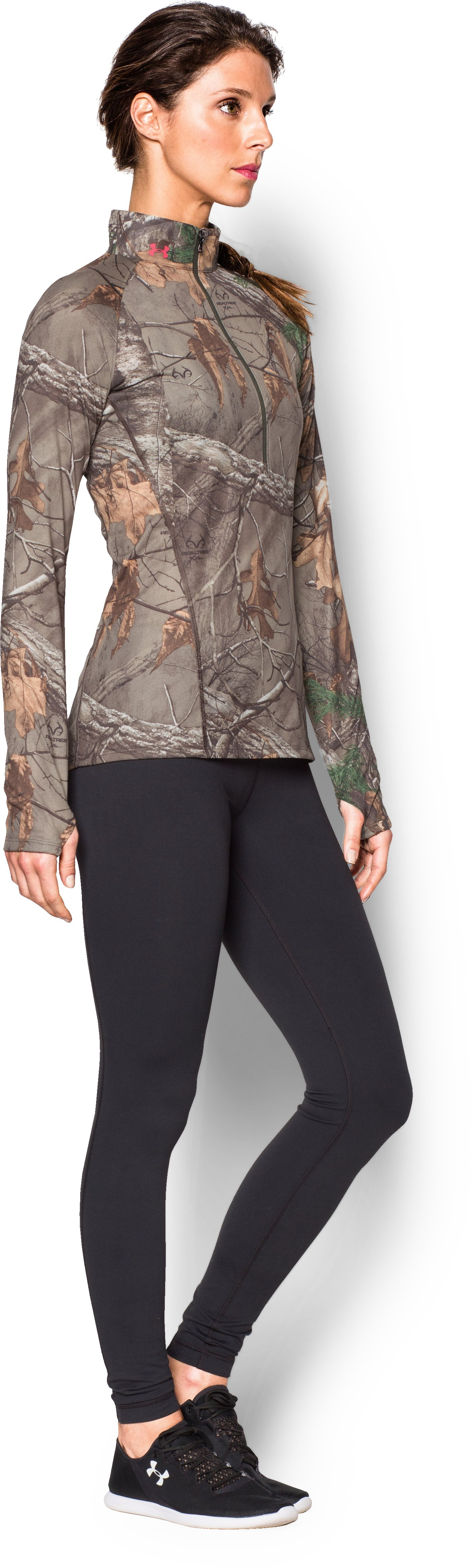 Women's UA Tech Camo 1/2 Zip , REALTREE AP-XTRA,