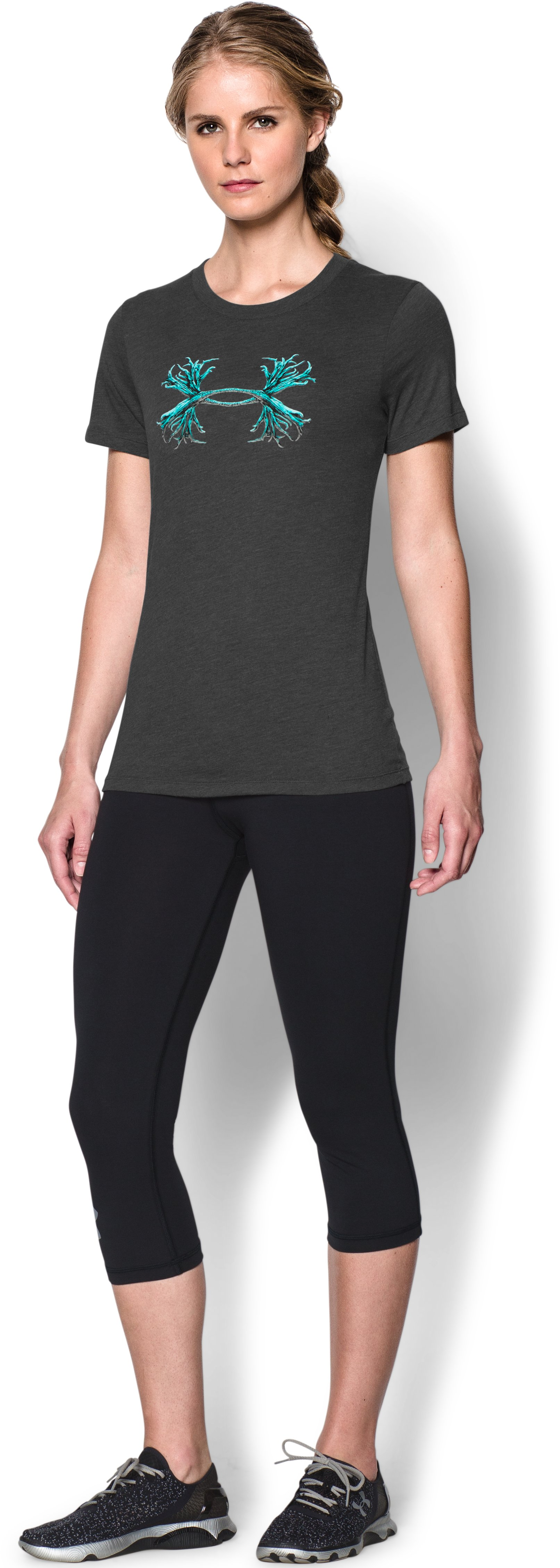 Women's UA Charged Cotton® Tri-Blend Antler T, Carbon Heather