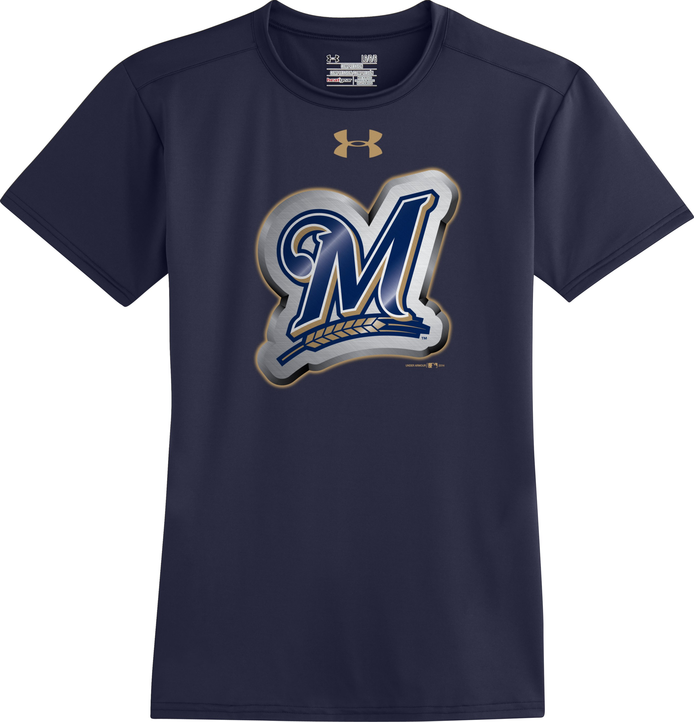 Men's Milwaukee Brewers UA Compression T-Shirt, Midnight Navy, Laydown