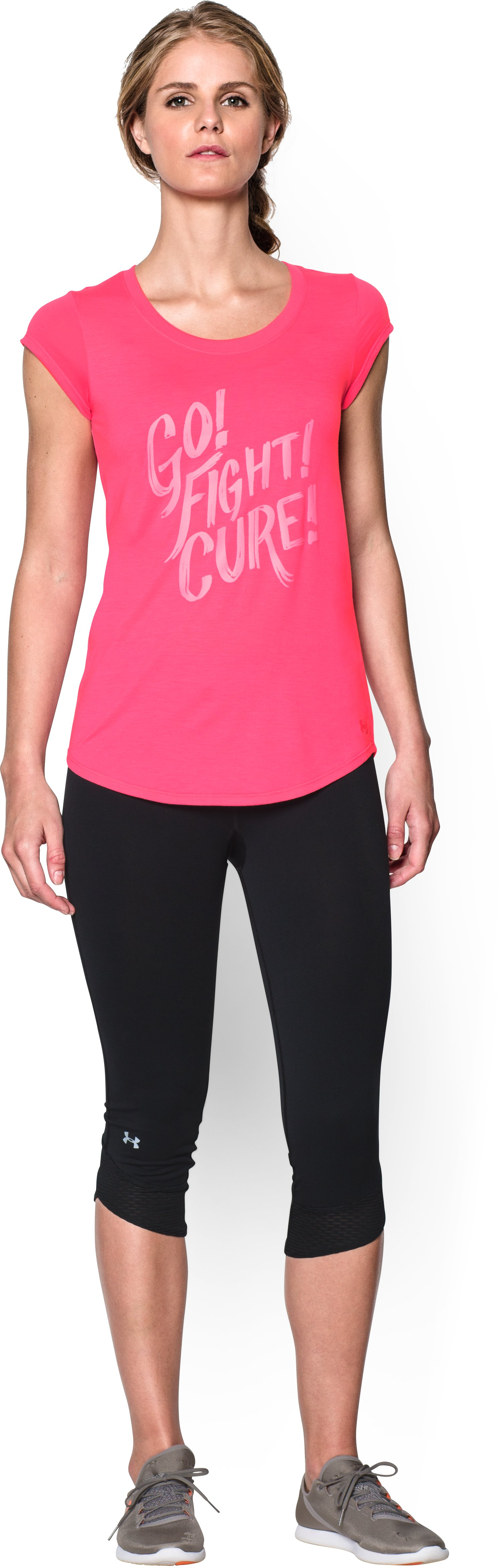 Women's UA Power In Pink® Go Fight Cure T-Shirt, Cerise, Front
