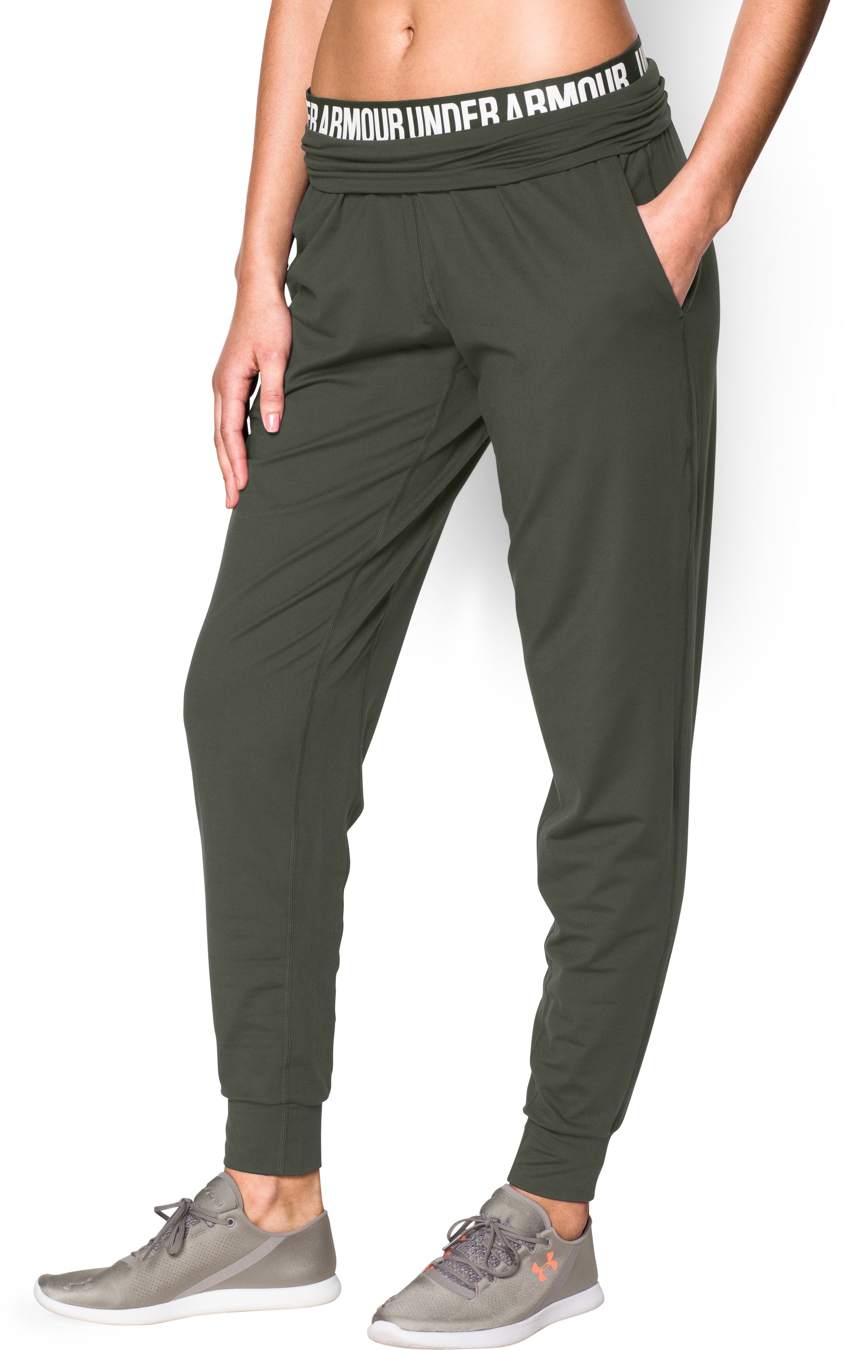 Women's UA Downtown Knit Pants, DOWNTOWN GREEN, undefined