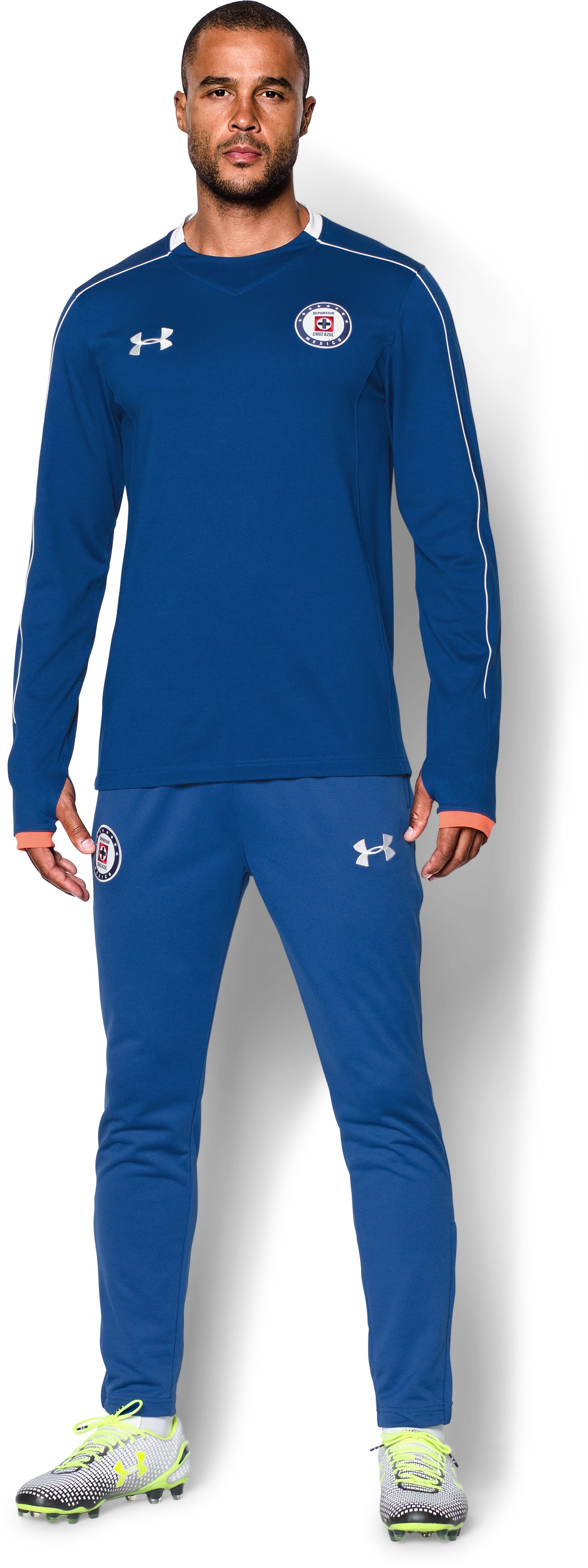 Men's Cruz Azul 15/16 Midlayer Crew, Royal, Front