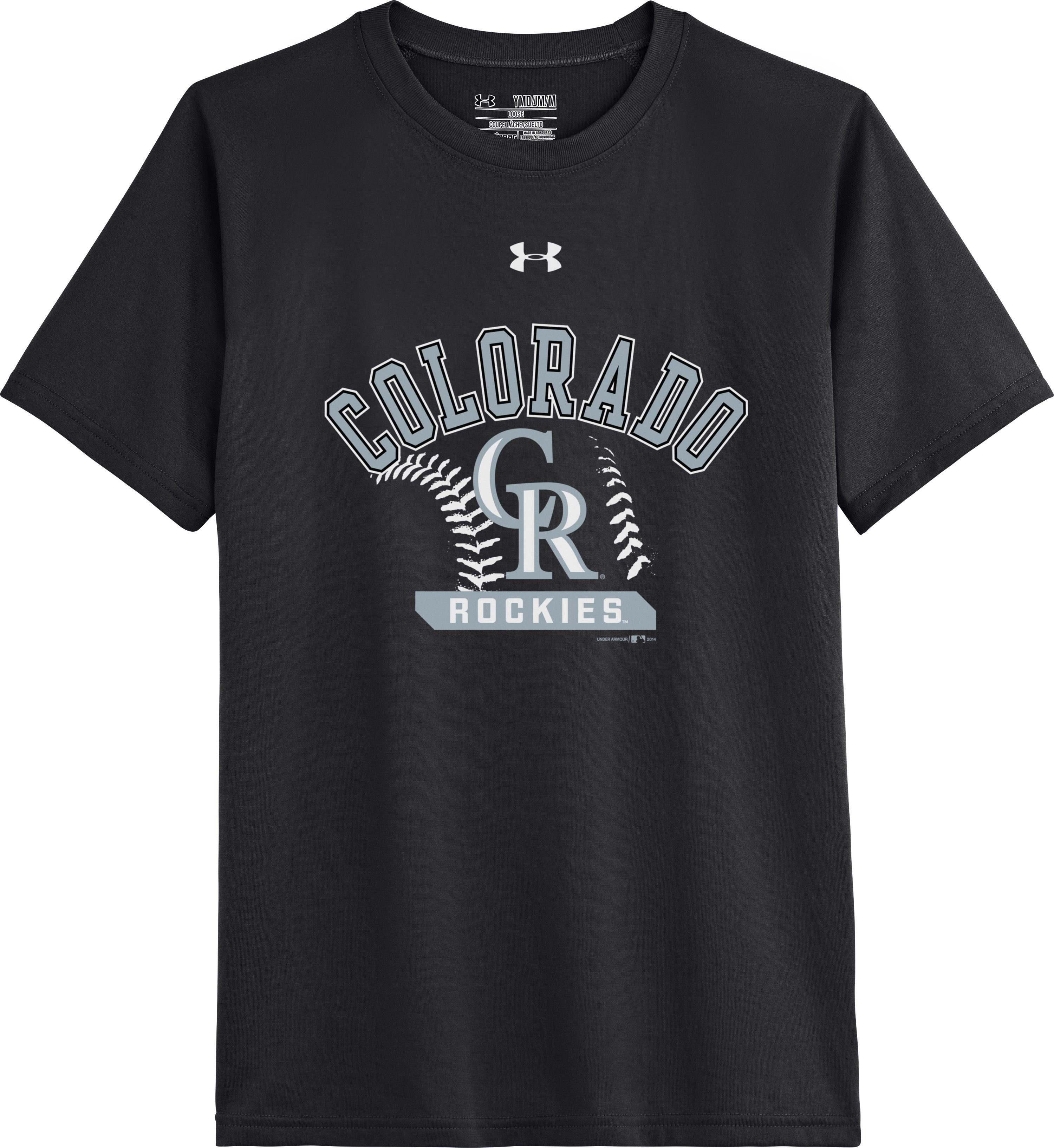 Kids' Colorado Rockies UA Tech™ T-Shirt, Black , Laydown