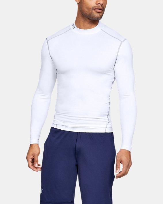 Men's UA ColdGear® Armour Compression Mock, White, pdpMainDesktop image number 0