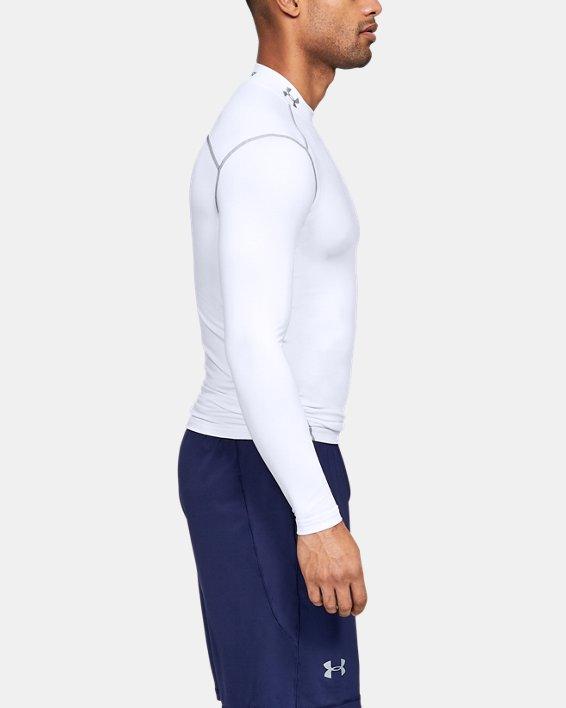 Men's UA ColdGear® Armour Compression Mock, White, pdpMainDesktop image number 5