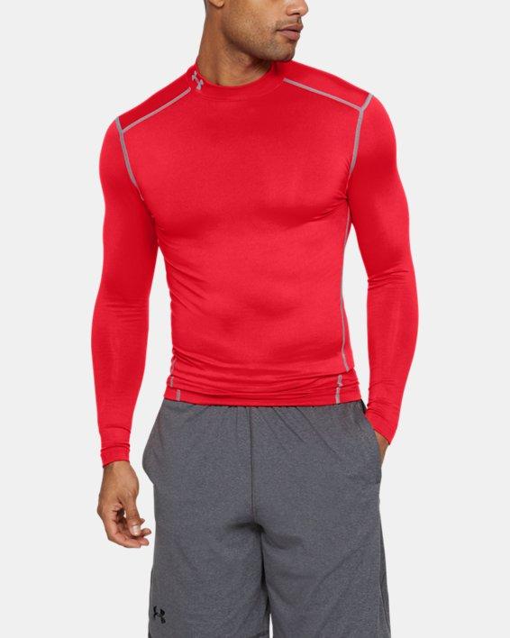 Men's UA ColdGear® Armour Compression Mock, Red, pdpMainDesktop image number 0