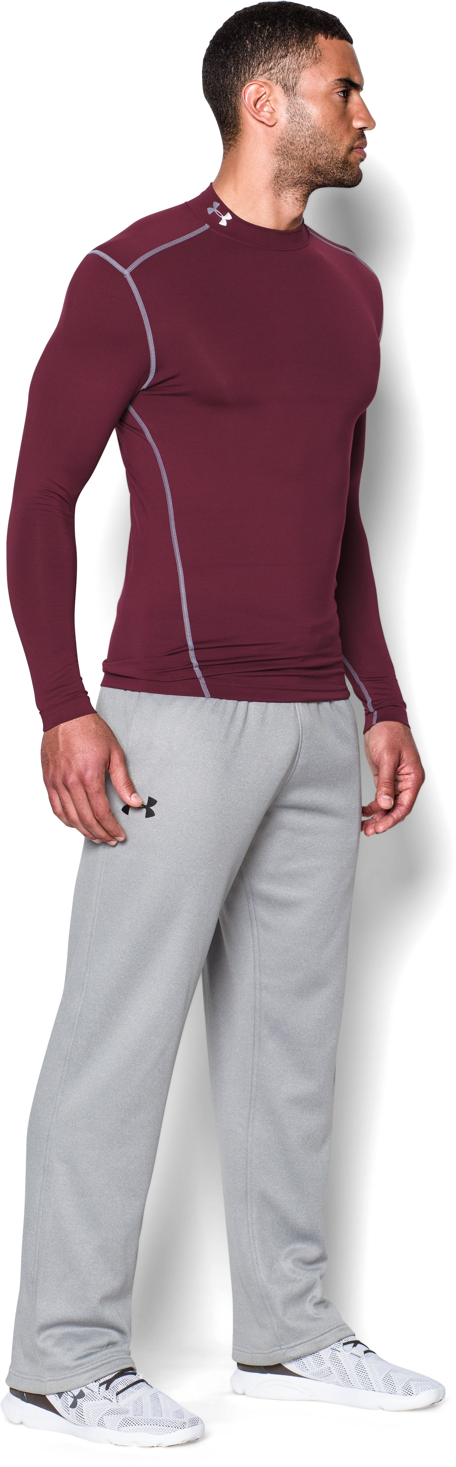 Men's UA ColdGear® Armour Compression Mock, Maroon,